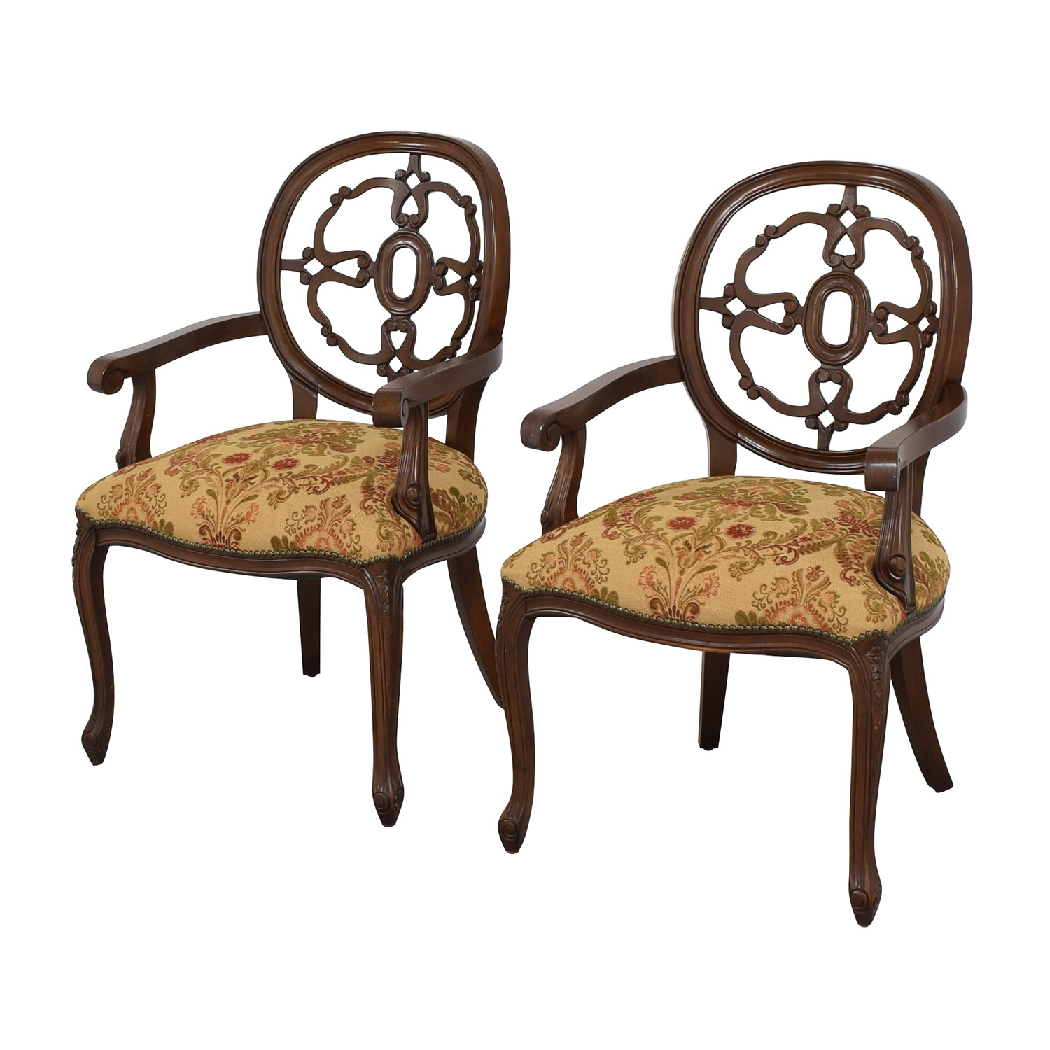 Floral Upholstered Armchairs with Antique Finish second hand