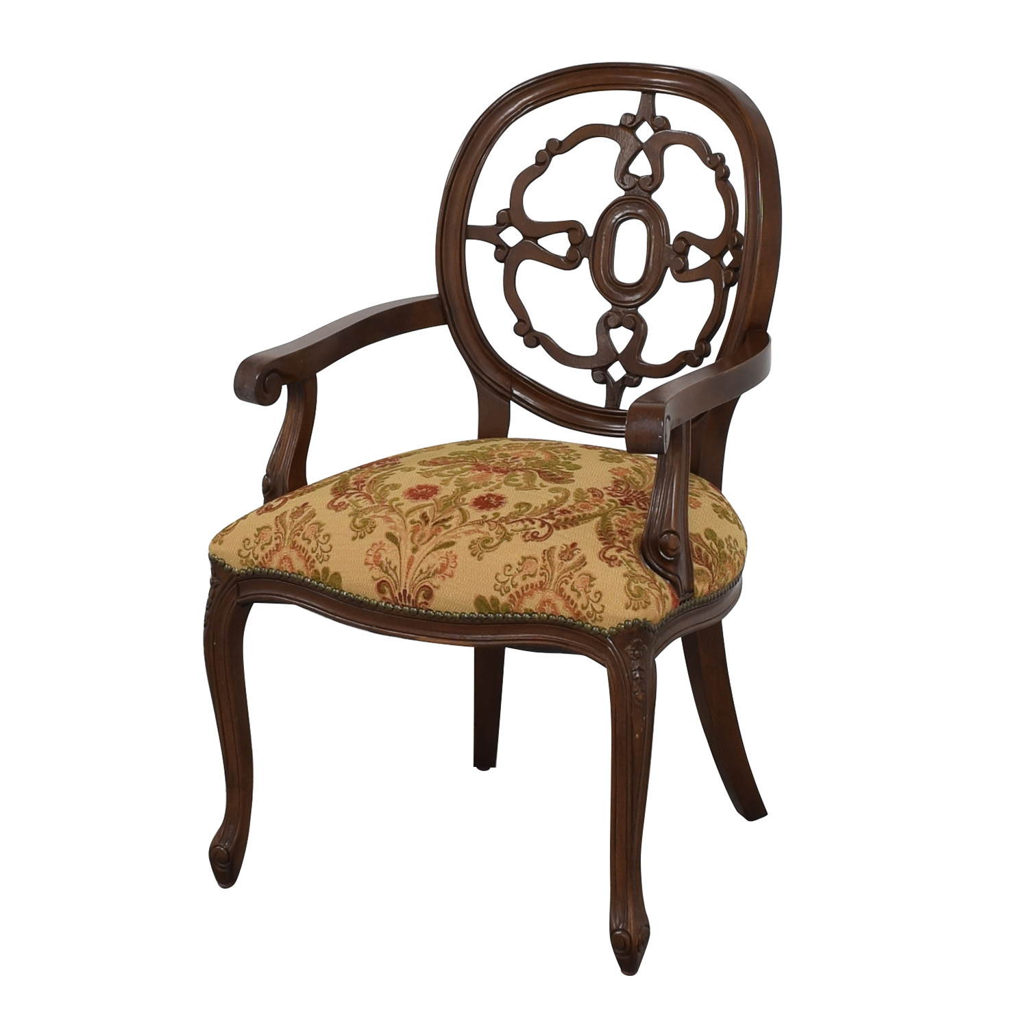 Floral Upholstered Armchairs with Antique Finish multi