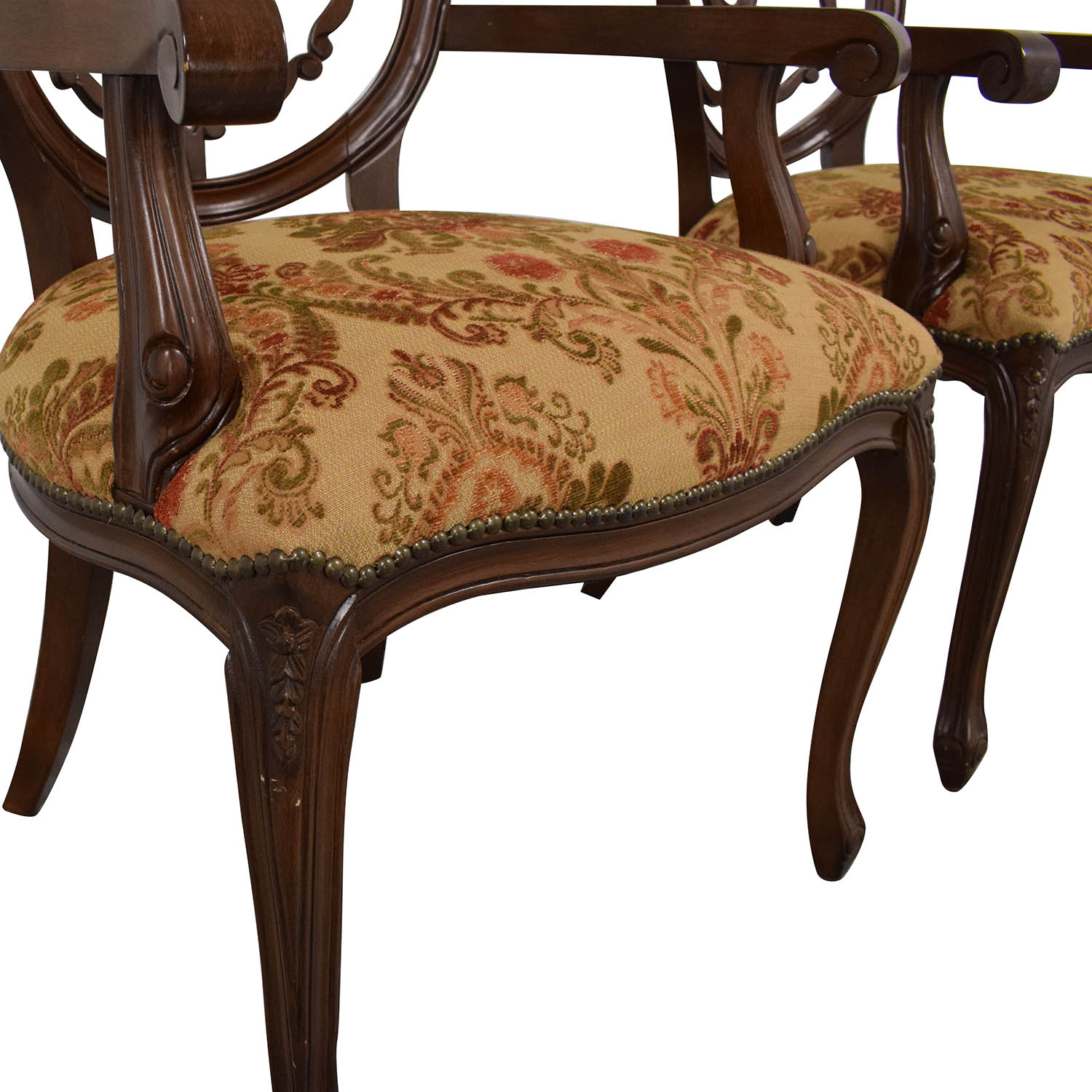 Floral Upholstered Armchairs with Antique Finish nj