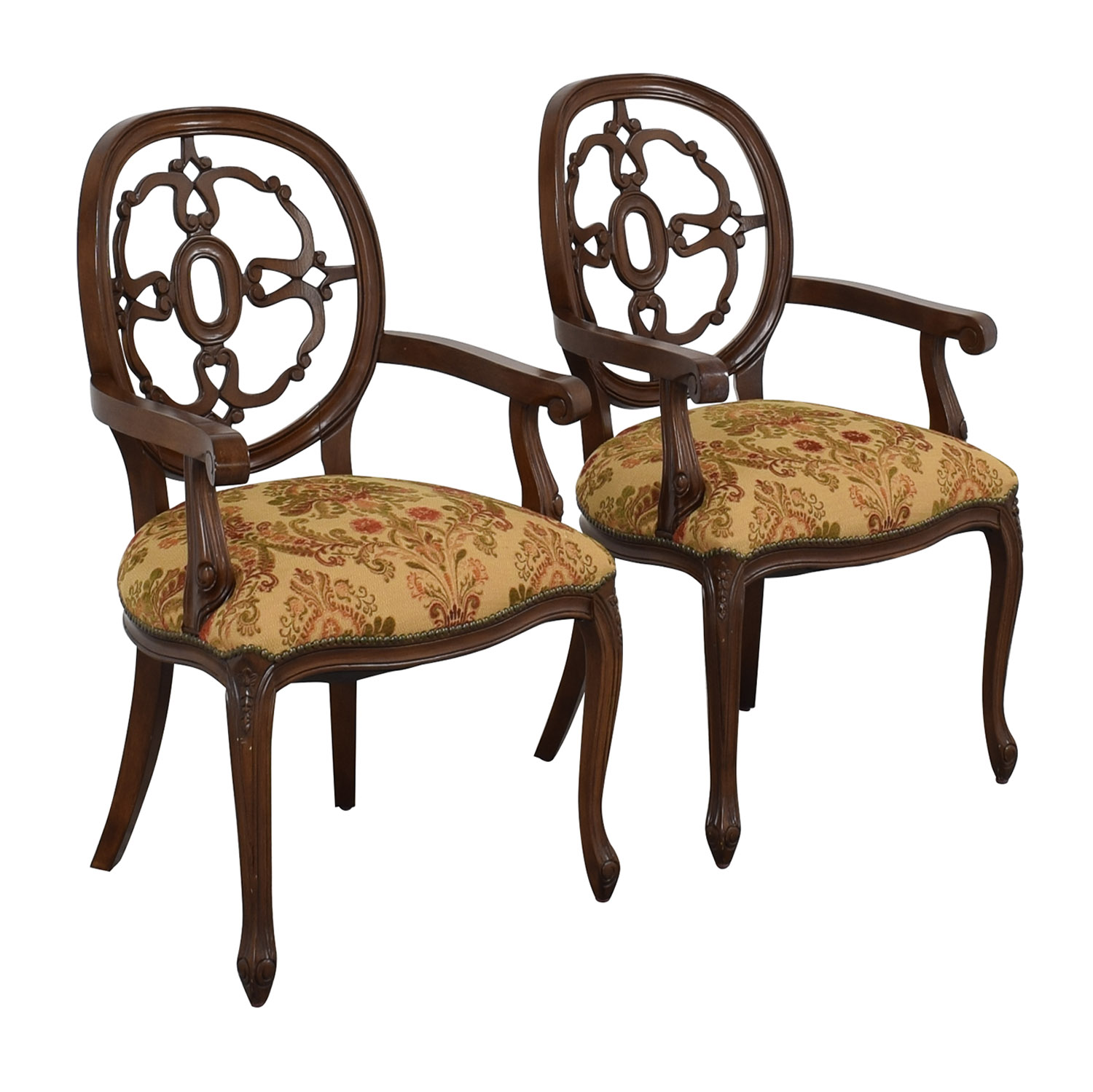 Floral Upholstered Armchairs with Antique Finish sale