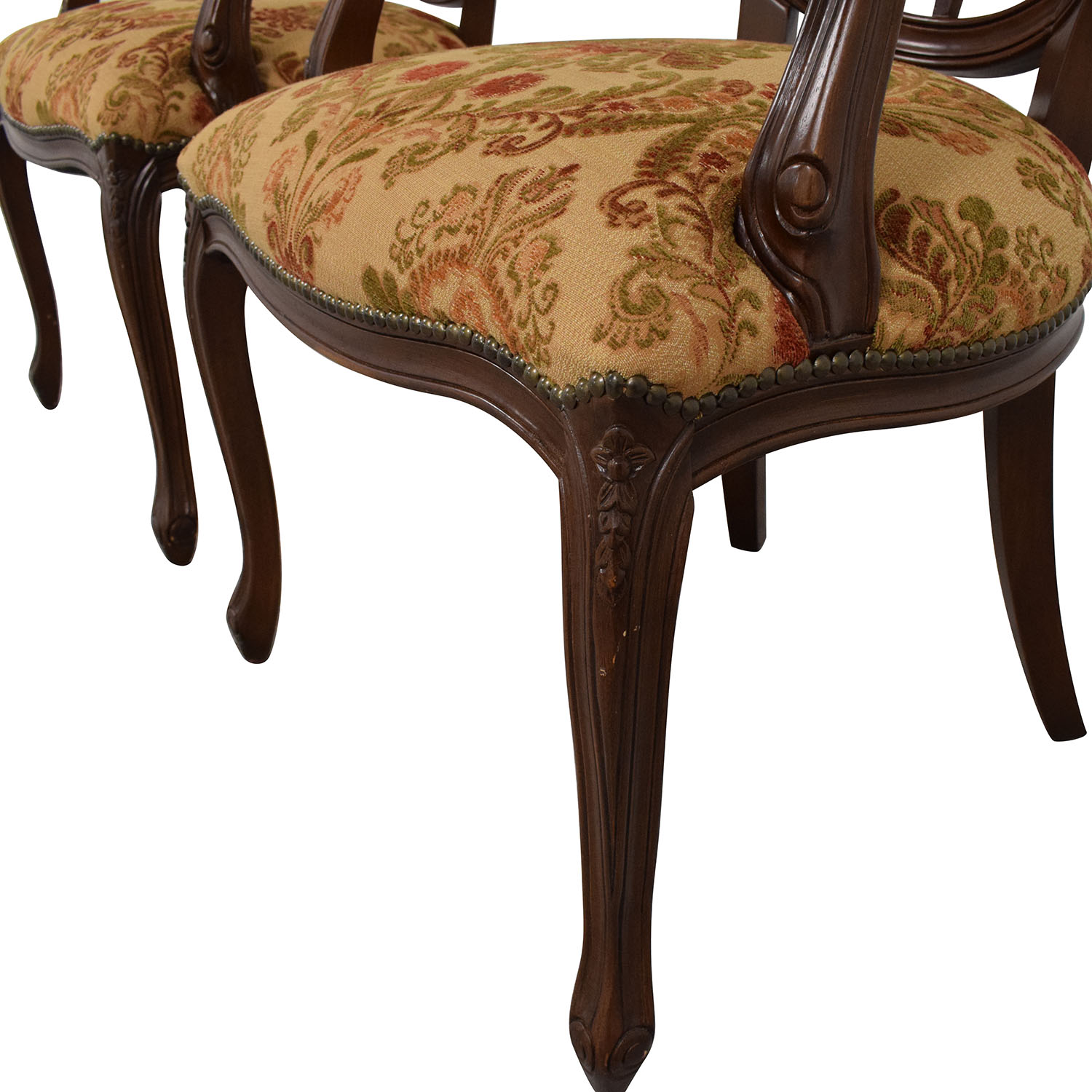 Floral Upholstered Armchairs with Antique Finish Dining Chairs