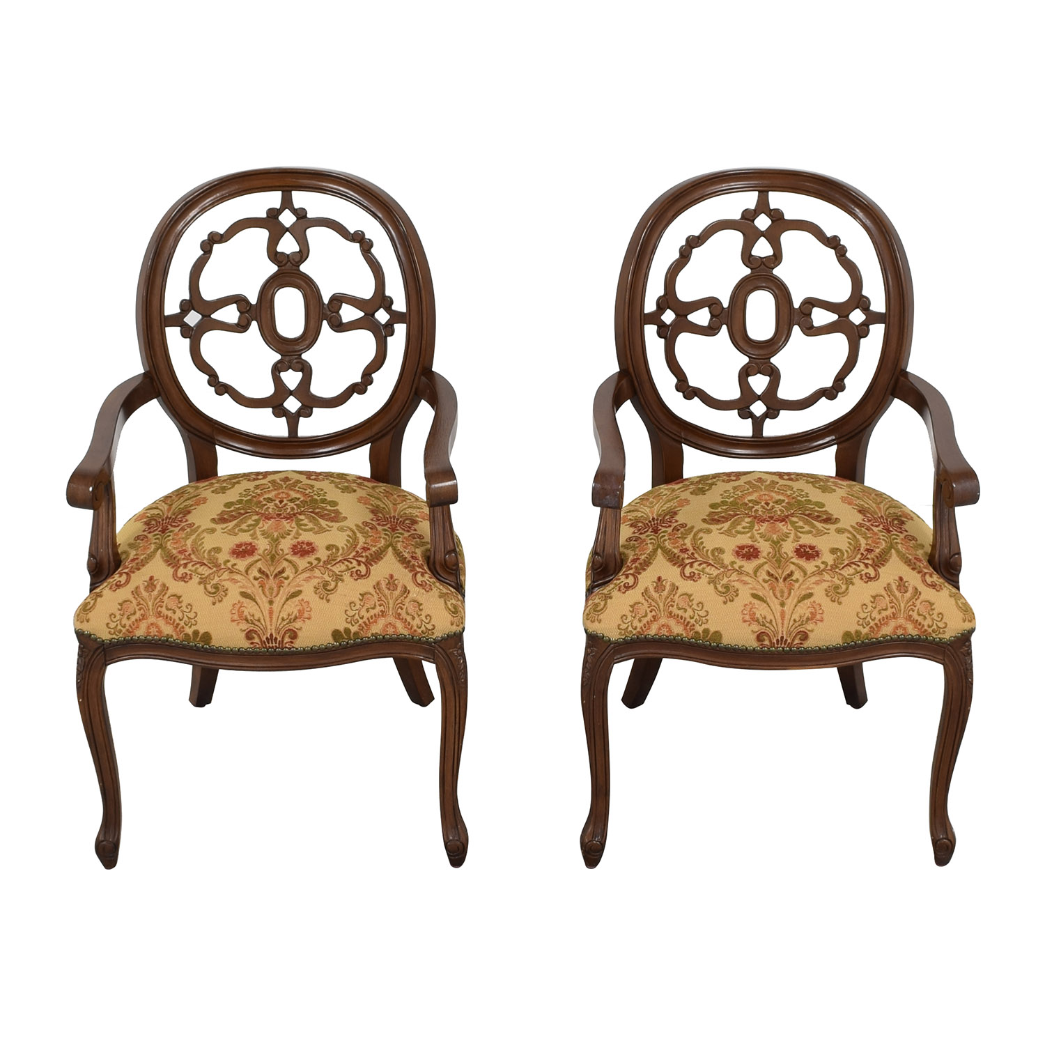 Floral Upholstered Armchairs with Antique Finish pa