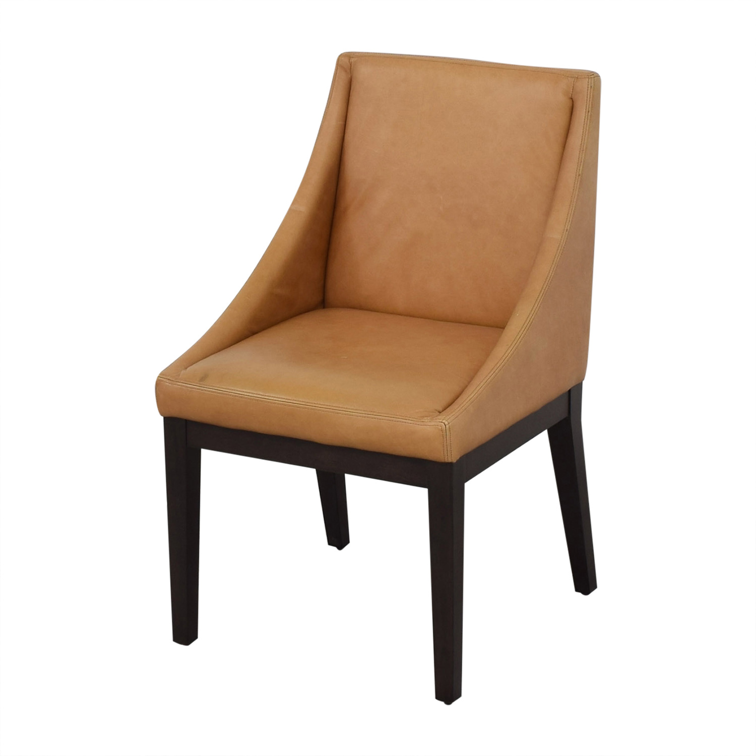 West Elm West Elm Curved Leather Chairs brown
