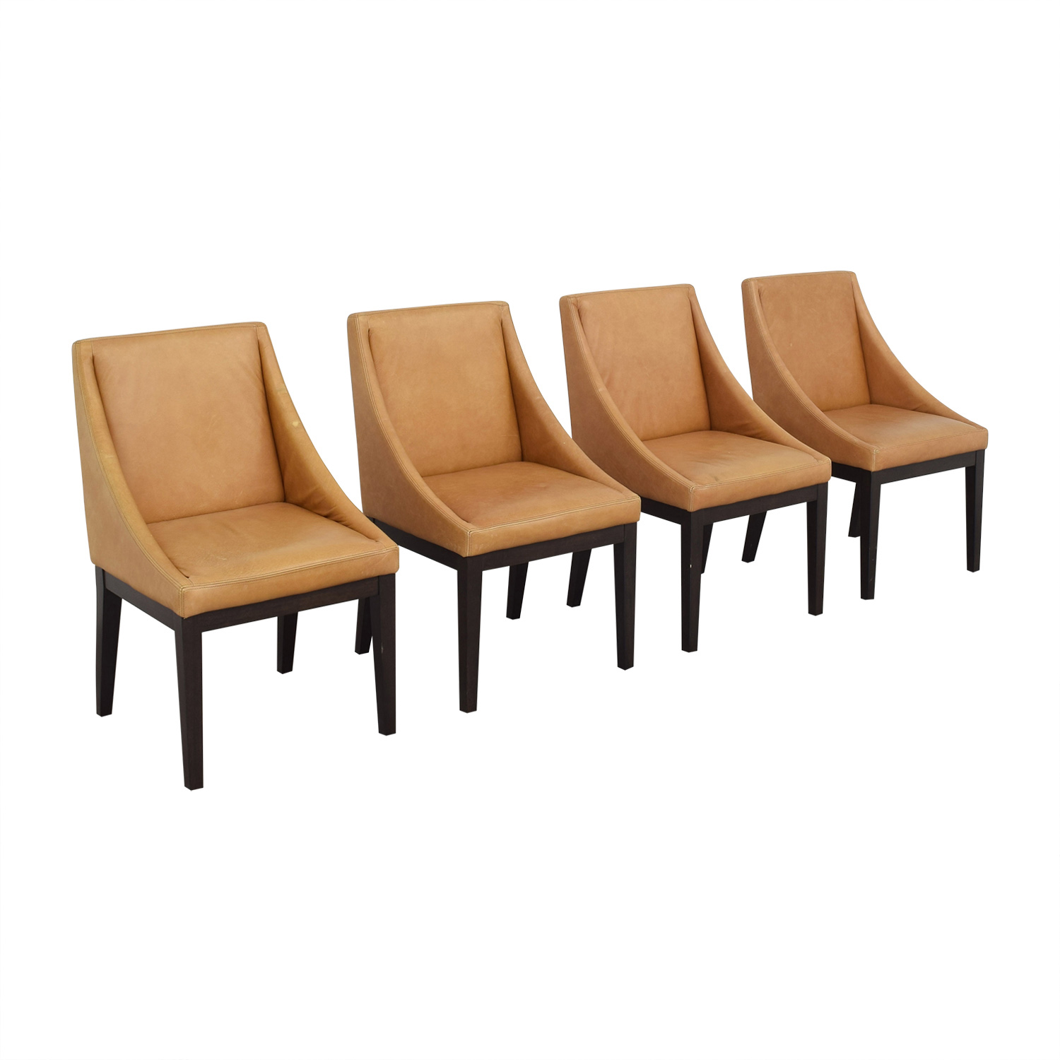 shop West Elm Curved Leather Chairs West Elm