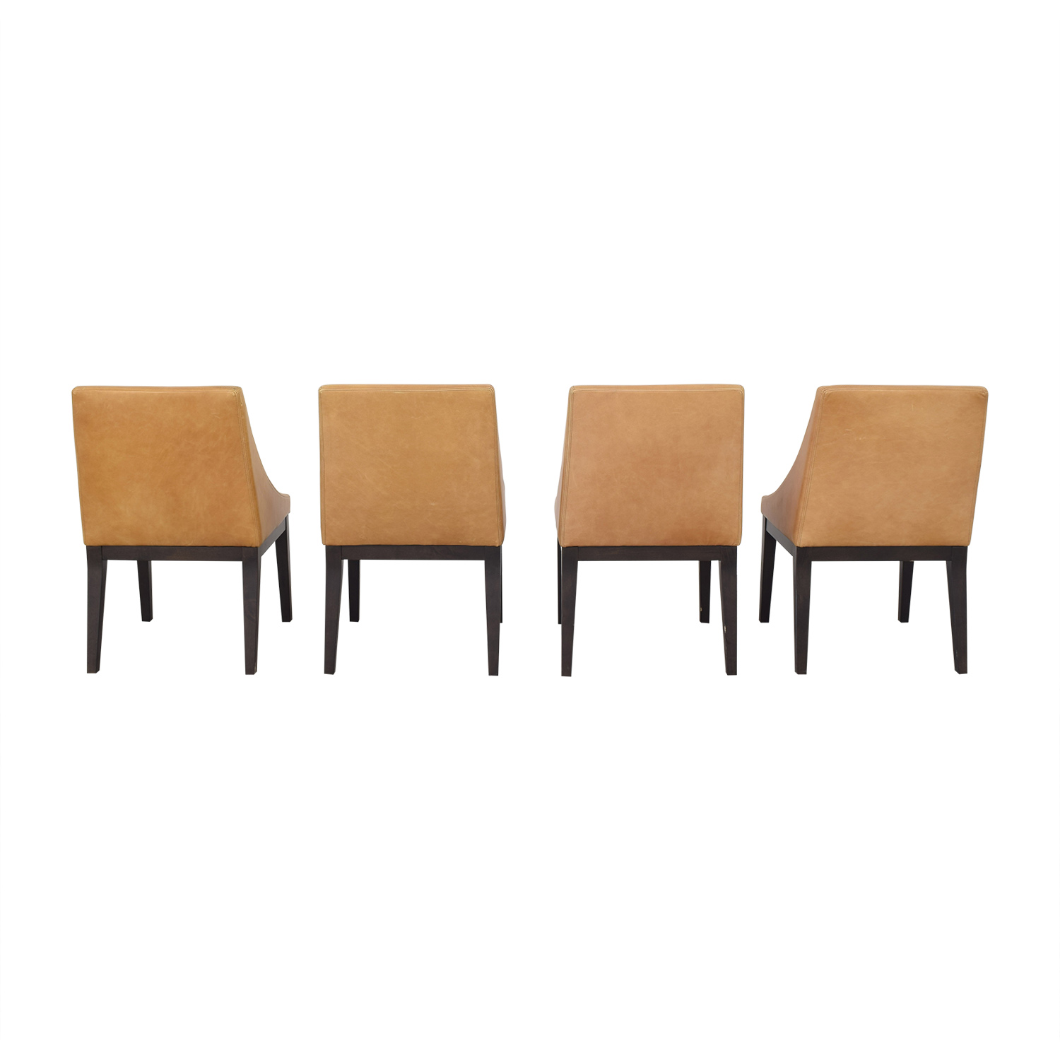 West Elm Curved Leather Chairs sale