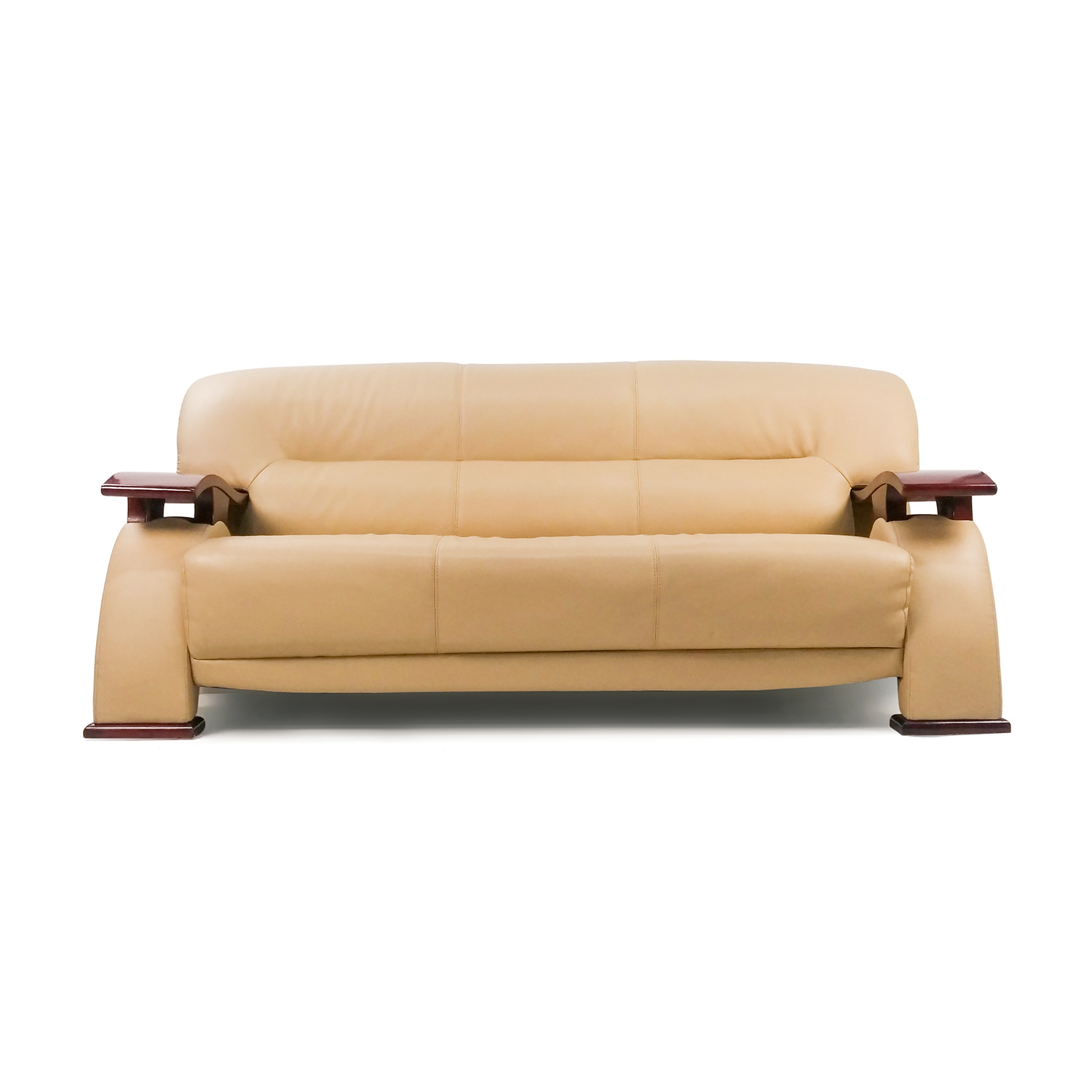 Unknown Brand Contemporary Beige Leather Sofa with Wood Arms discount