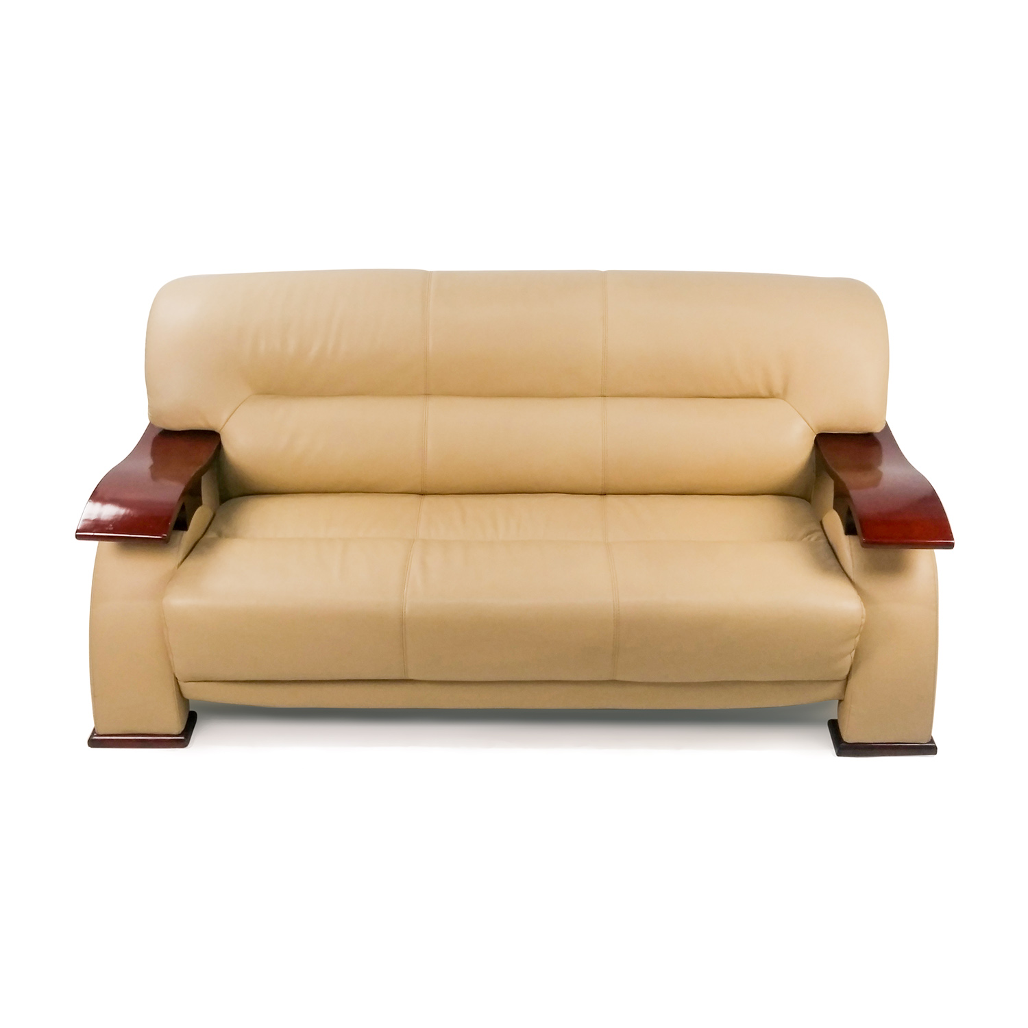 Contemporary Beige Leather Sofa with Wood Arms / Classic Sofas