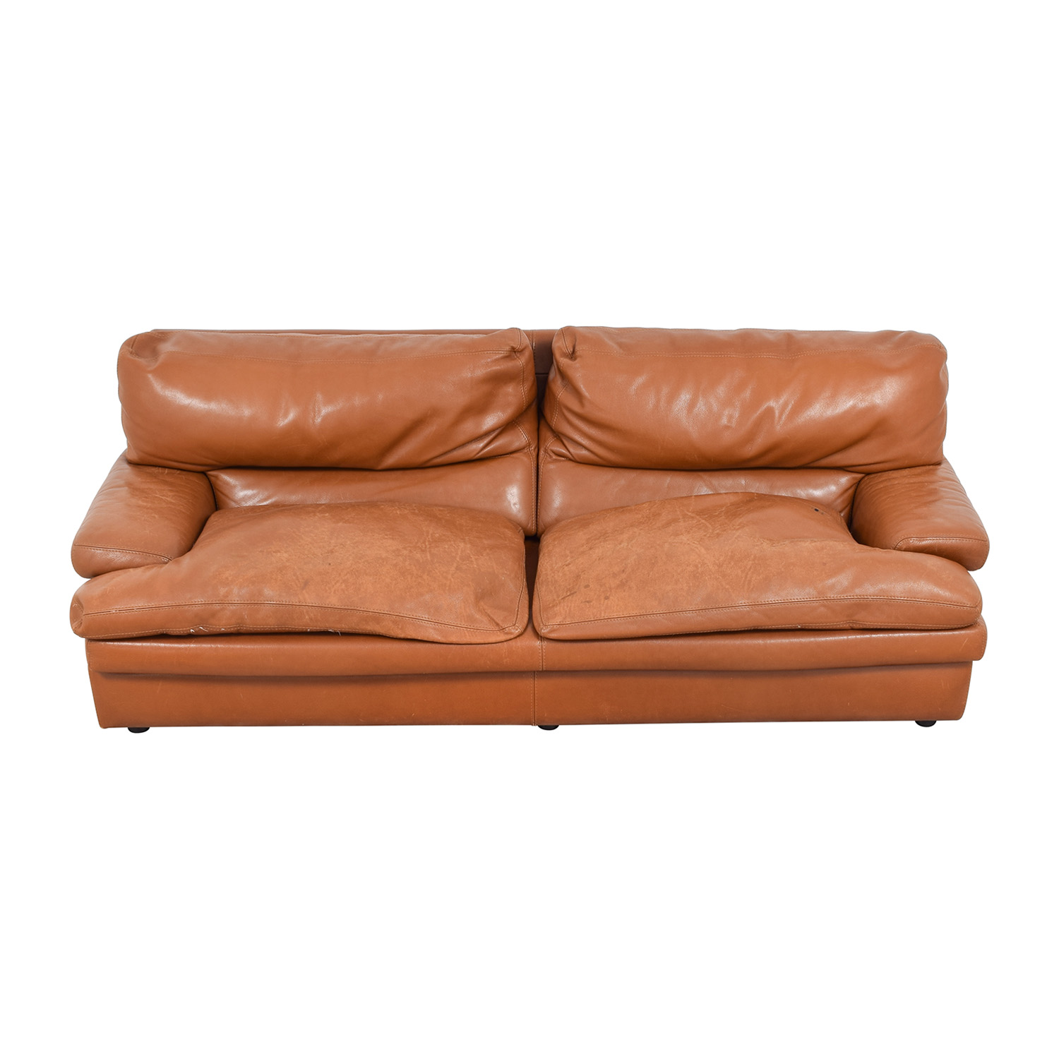 Roche Bobois Roche Bobois Burnt Orange Leather Sofa second hand