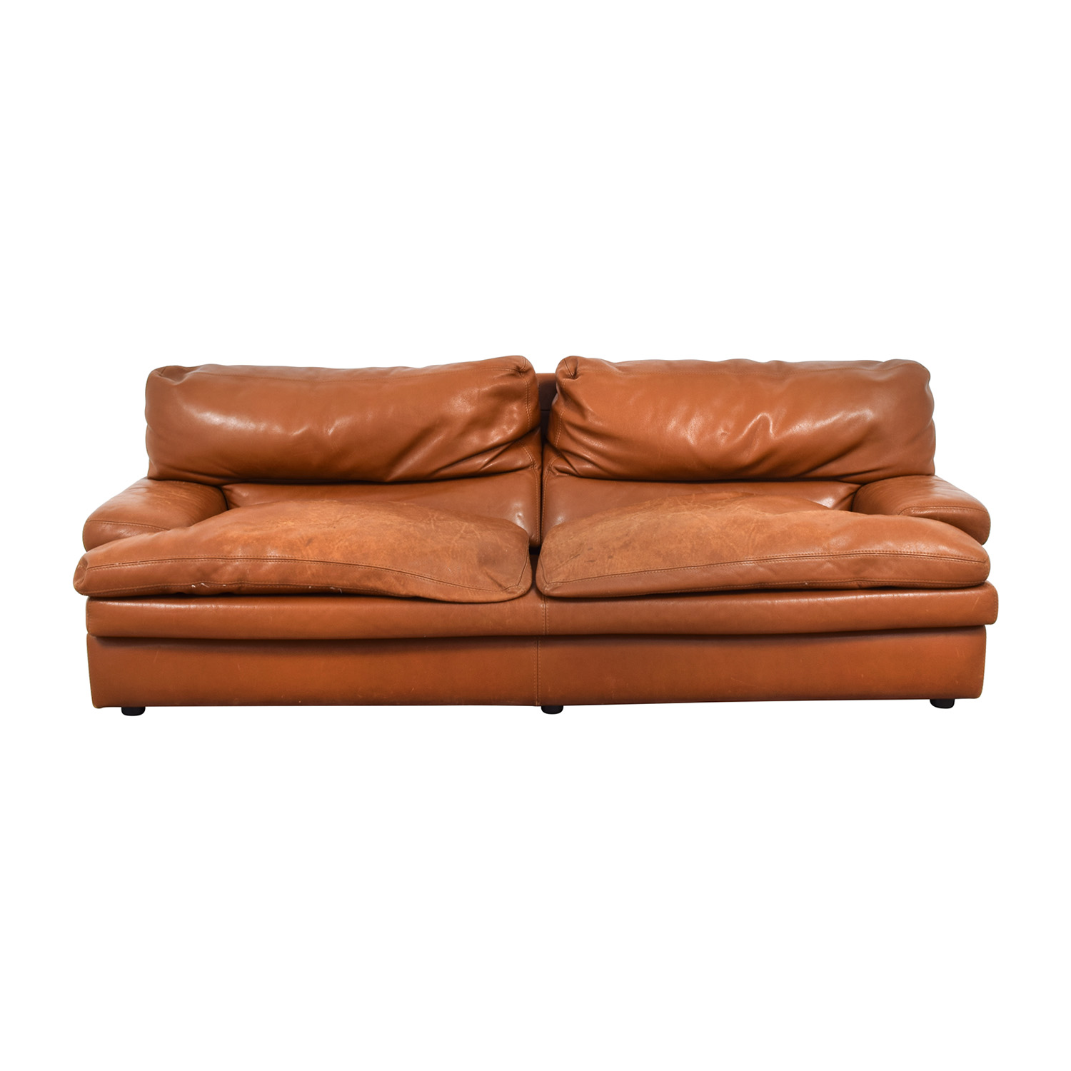 81% OFF - Roche Bobois Roche Bobois Burnt Orange Leather Sofa / Sofas