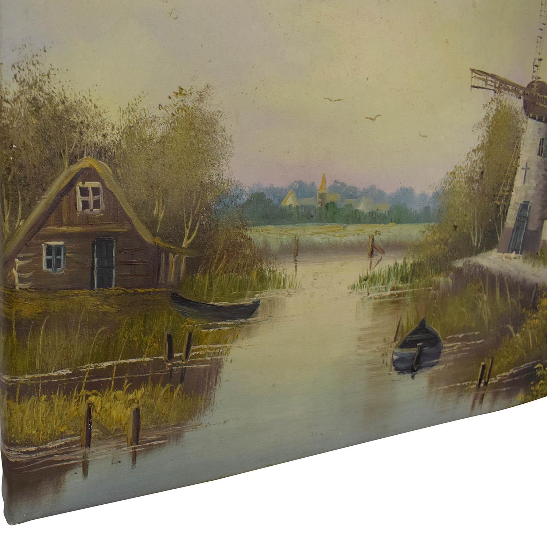 Windmill Landscape Wall Art
