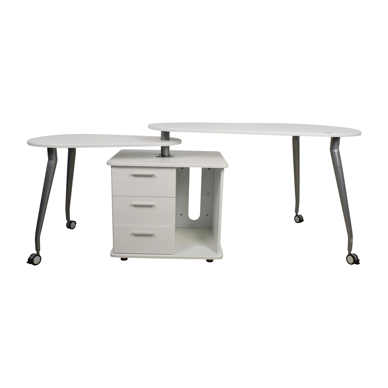 Superb 84 Off Techni Mobili White Swivel Desk Tables Interior Design Ideas Clesiryabchikinfo