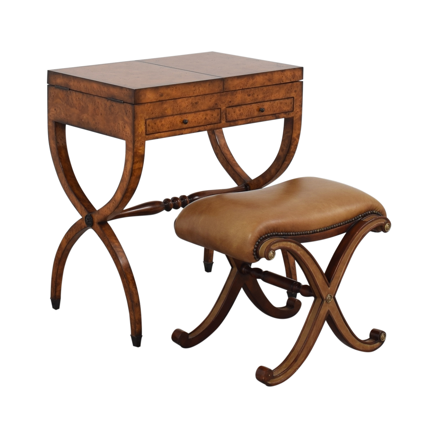 Theodore Alexander Theodore Alexander Burl Dressing Vanity and Marshall Stool for sale