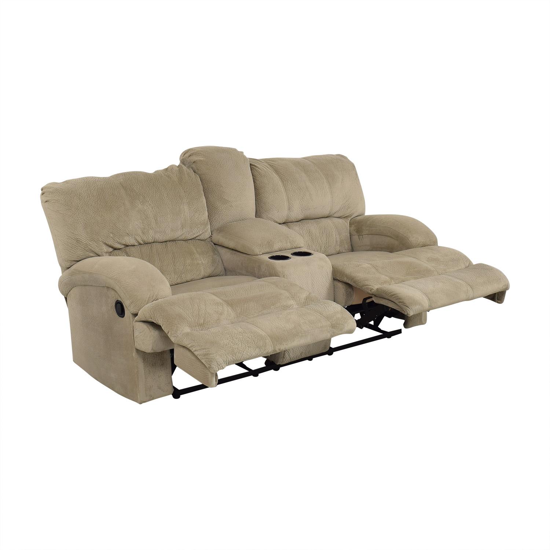 Raymour & Flanigan Raymour & Flanigan Microfiber 2-Seat Manual Recliner for sale