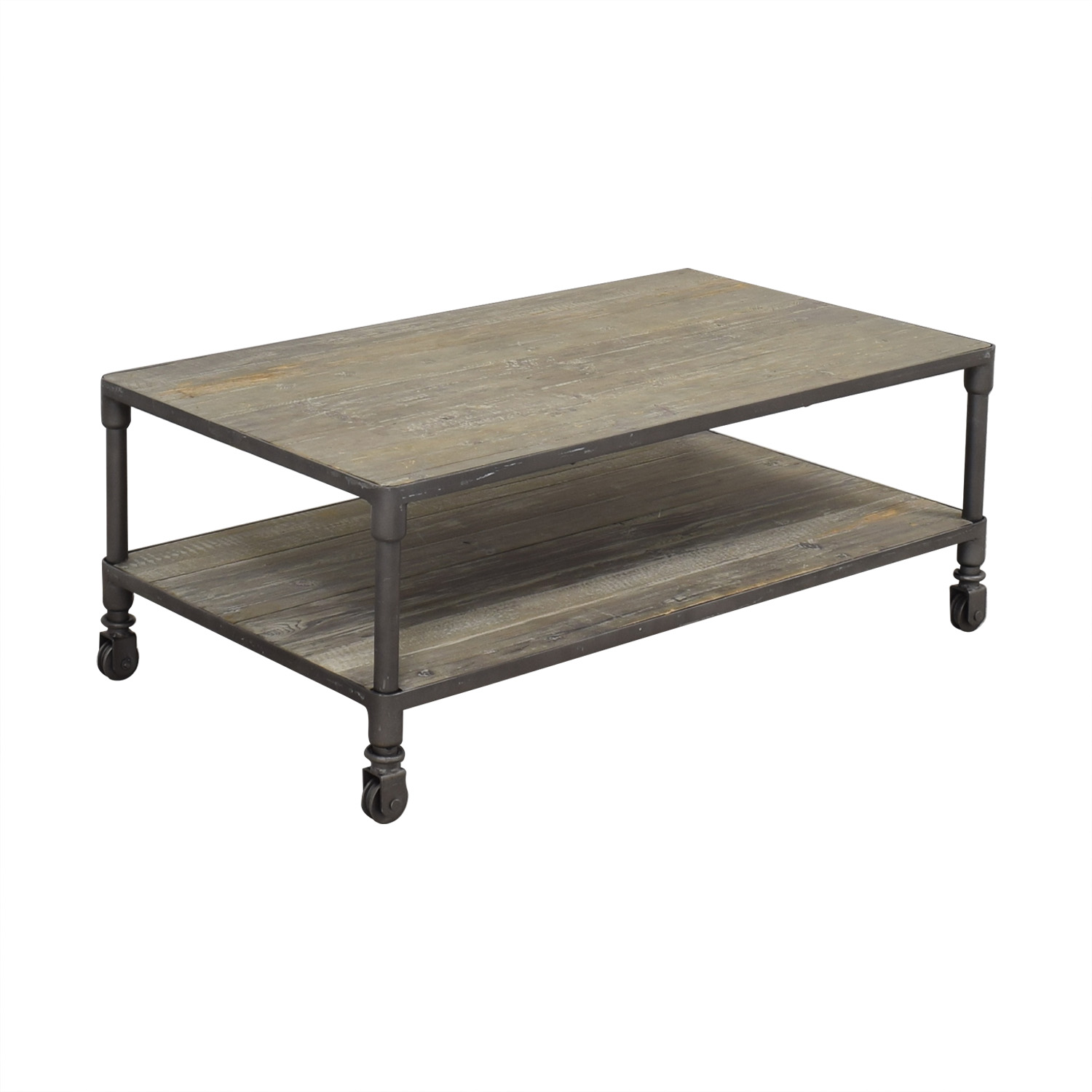 ABC Carpet & Home ABC Carpet & Home Industrial Rolling Two Tier Coffee Table ma