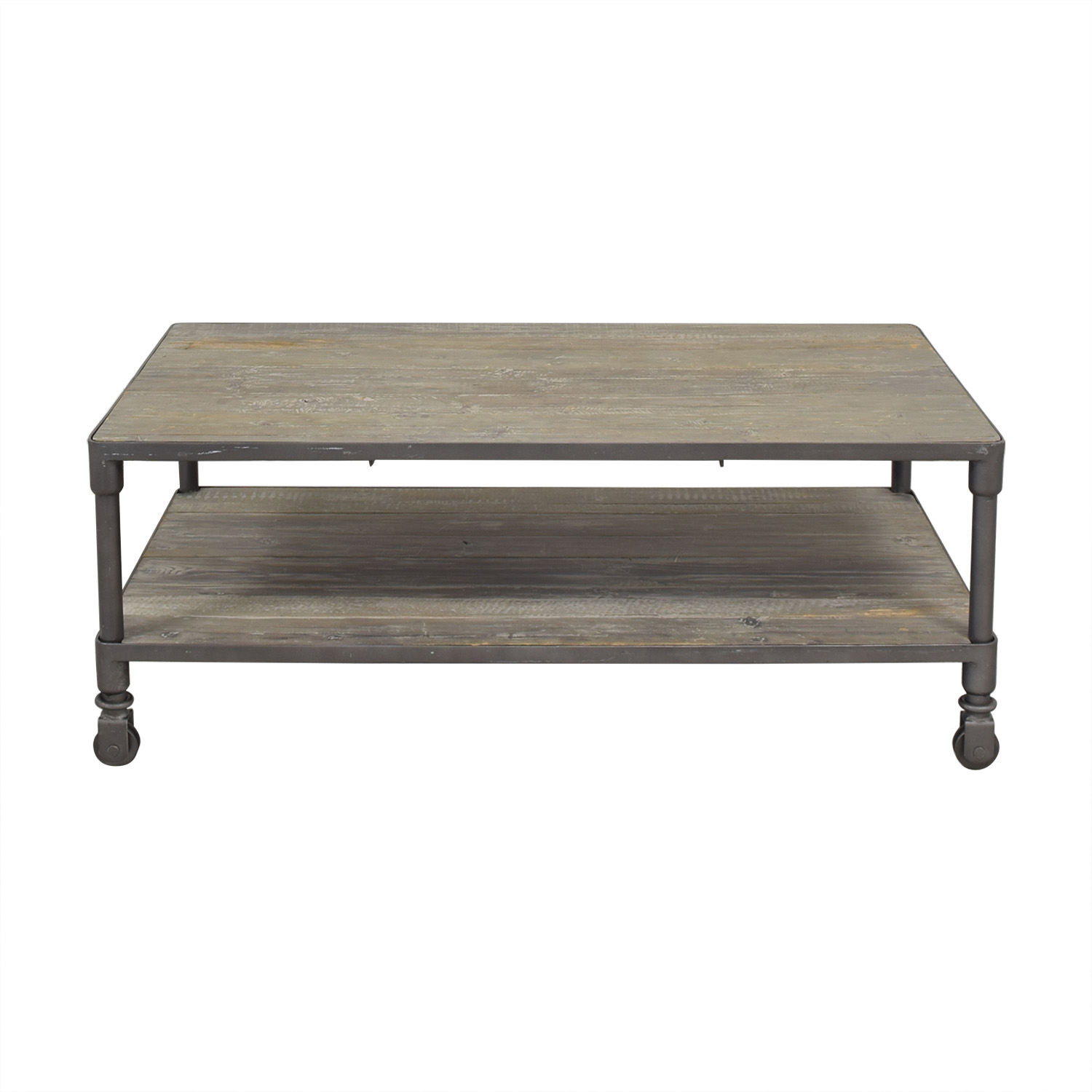 ABC Carpet & Home ABC Carpet & Home Industrial Rolling Two Tier Coffee Table Tables