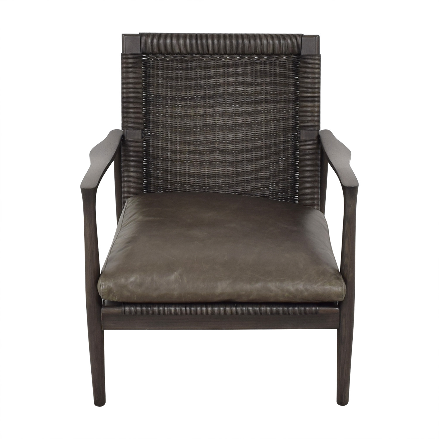 Crate & Barrel Crate & Barrel Sebago Midcentury Rattan Chair with Leather Cushion discount