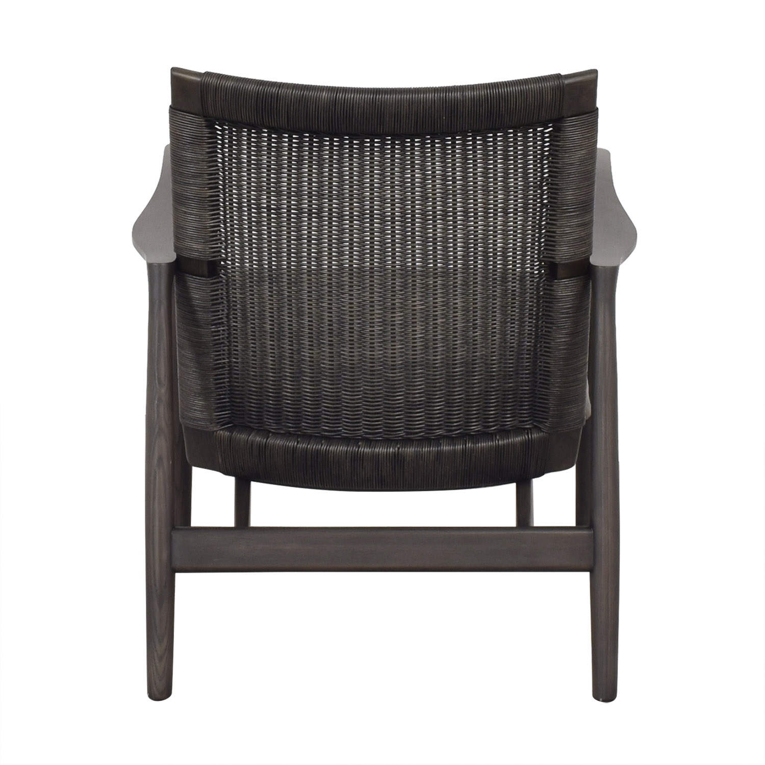 Crate & Barrel Crate & Barrel Sebago Midcentury Rattan Chair with Leather Cushion ct