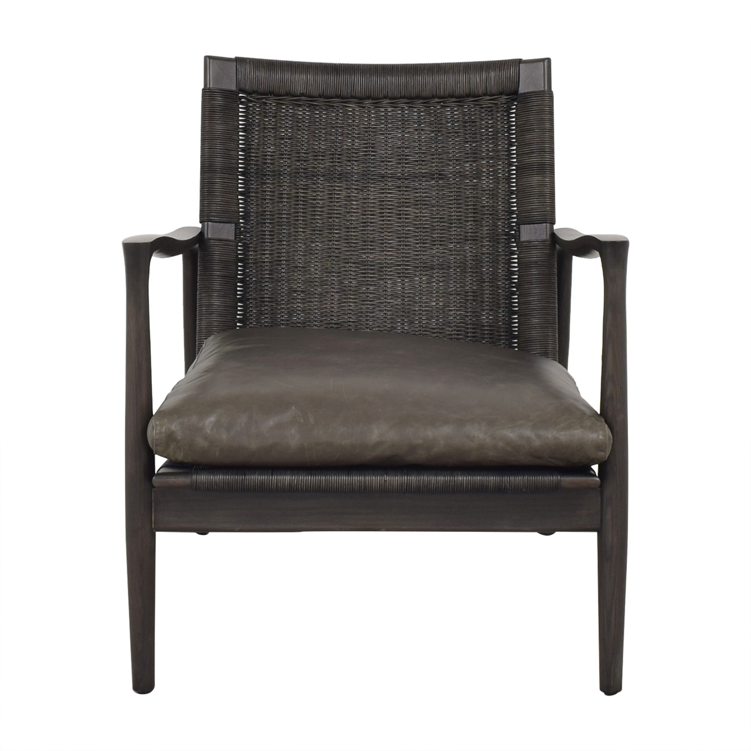 Crate & Barrel Crate & Barrel Sebago Midcentury Rattan Chair with Leather Cushion dimensions