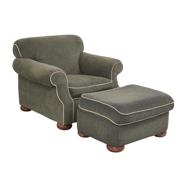 La-Z-Boy La-Z-Boy Rolled Arm Accent Chair with Ottoman green