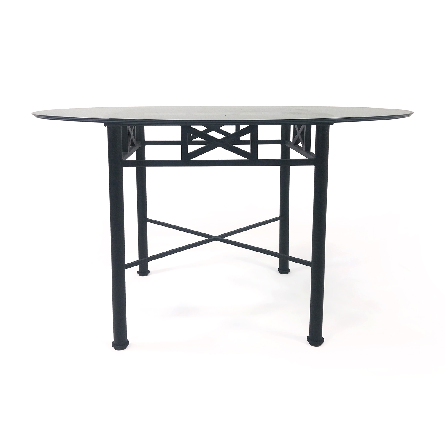 buy Iron Base Glass Dining Table Custom