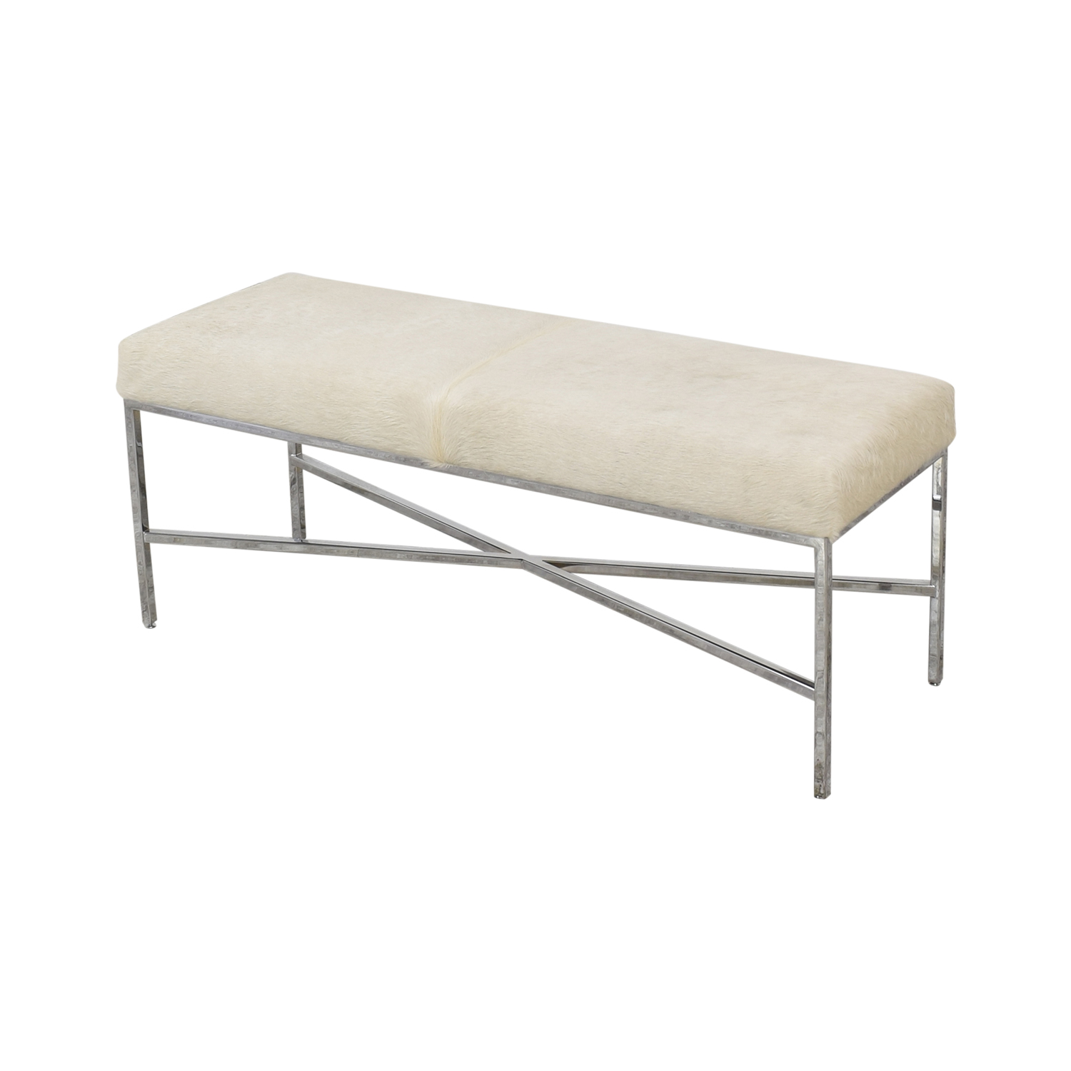 Outpost Original Outpost Original Metal Bench with Cowhide off white & silver