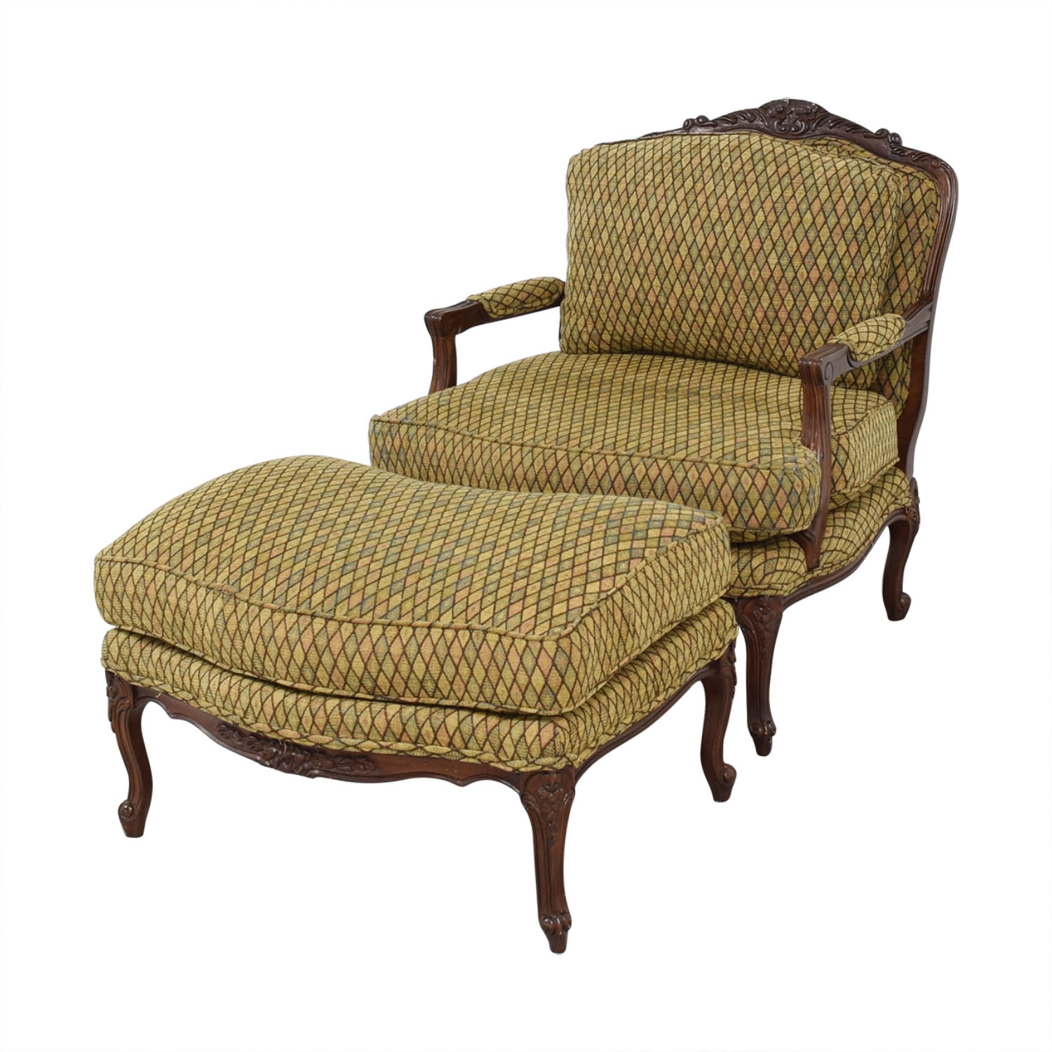 Vintage Henredon Chair with Ottoman / Chairs
