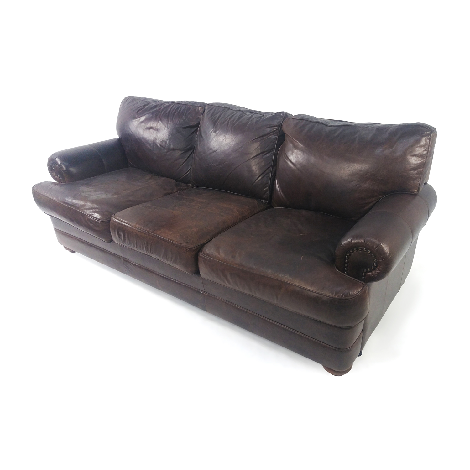 74 Off Custom Brown Leather Couch Sofas