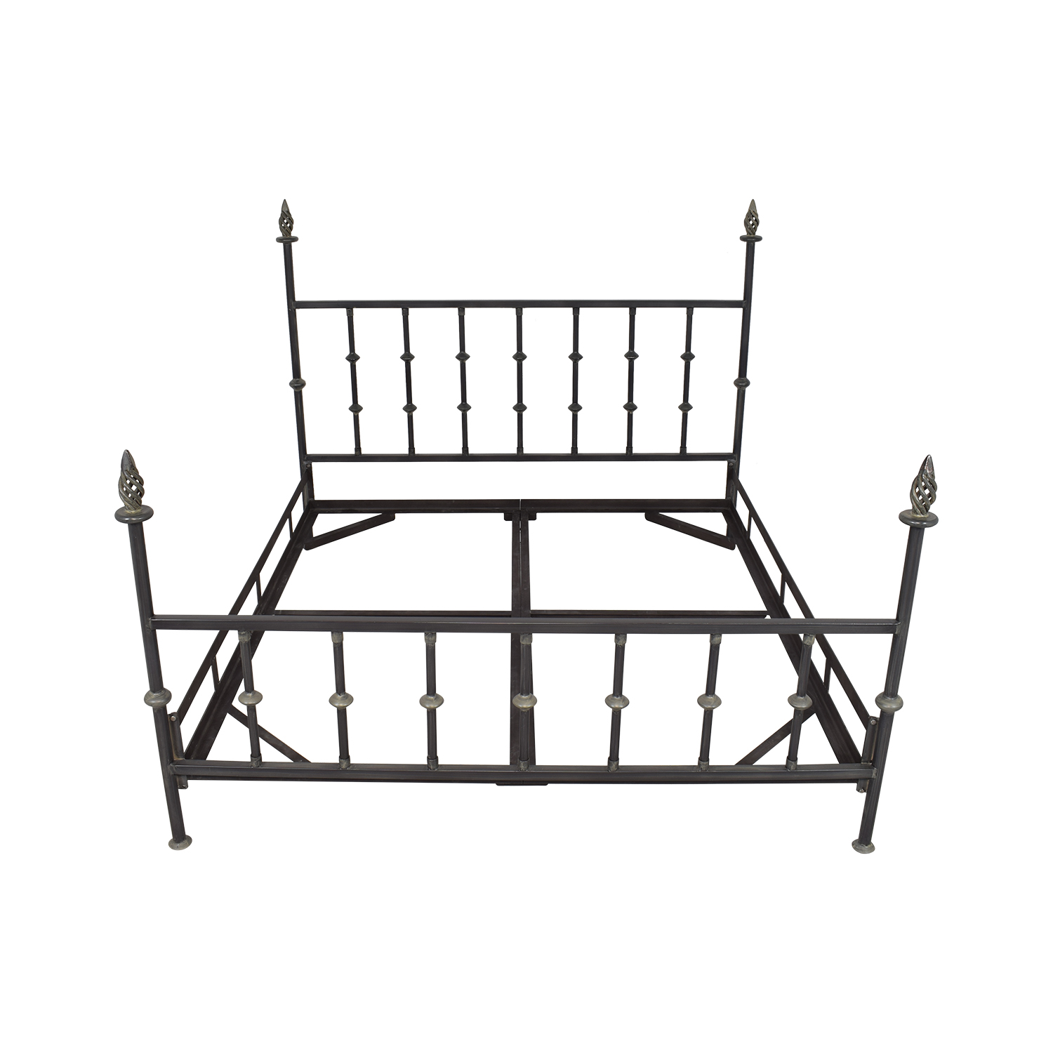 King Bed Frame with Spiral Finials second hand