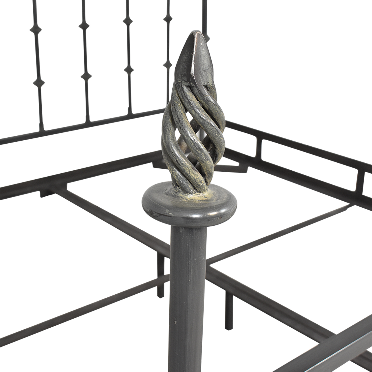 shop King Bed Frame with Spiral Finials  Beds