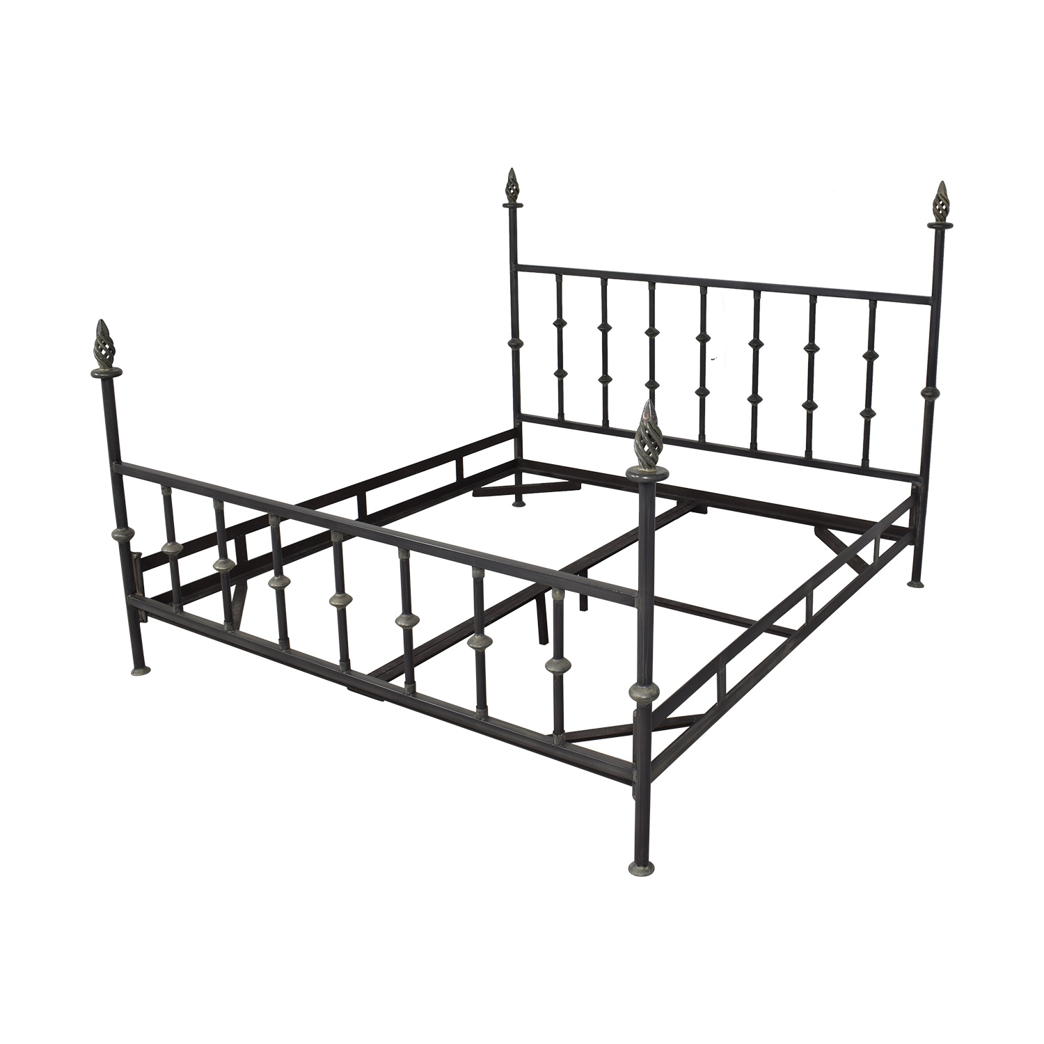 King Bed Frame with Spiral Finials