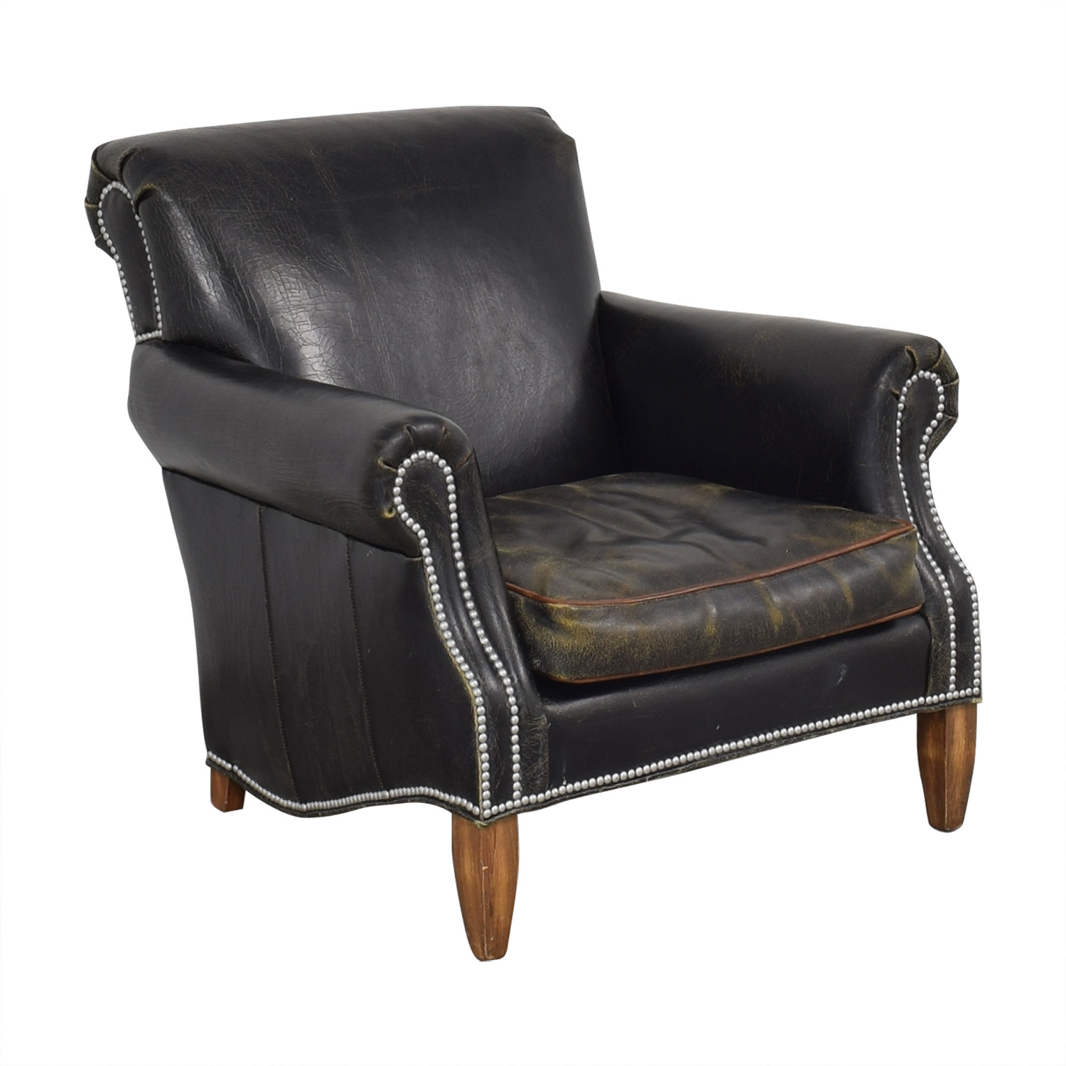 Old Hickory Tannery Old Hickory Tannery Distressed Club Chair black and brown