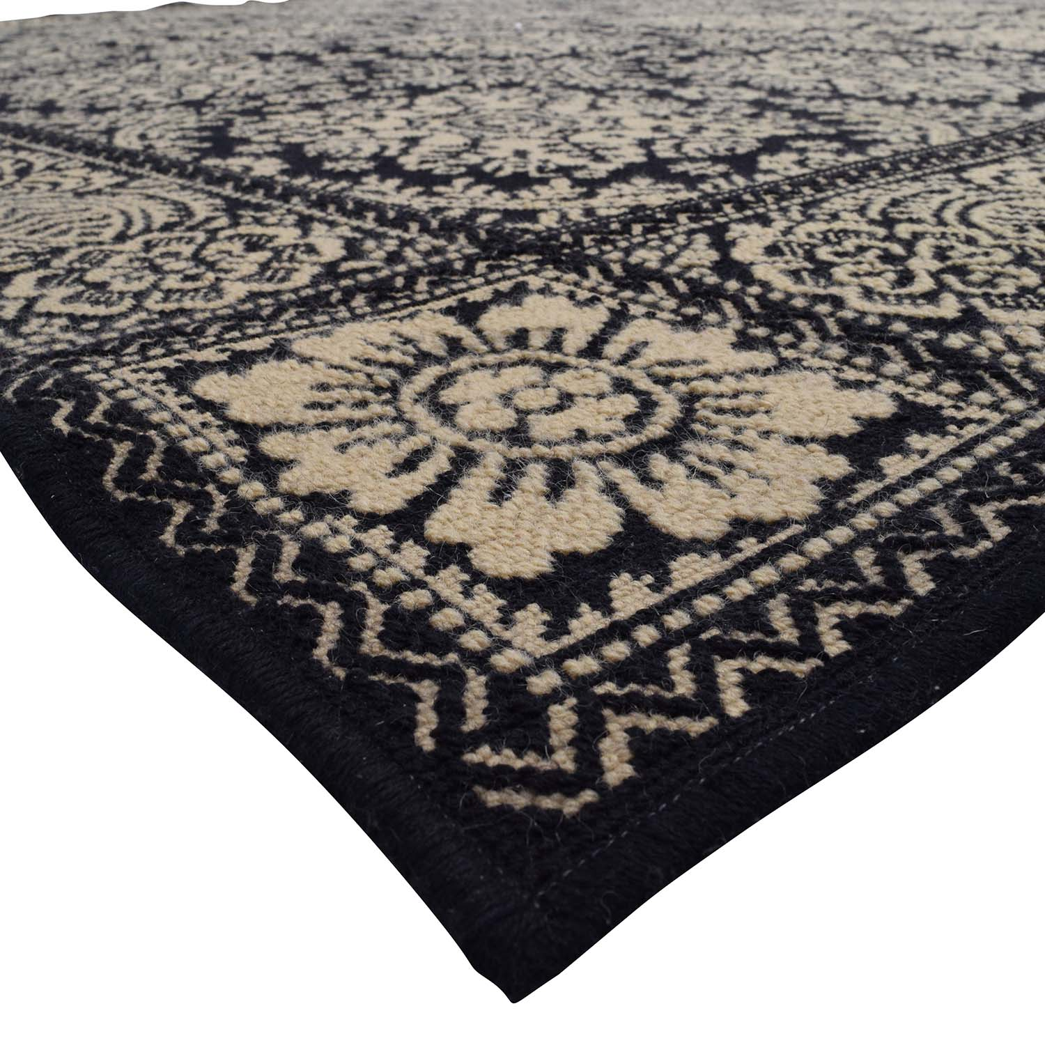 Black and Cream Print Custom Wool Rug used