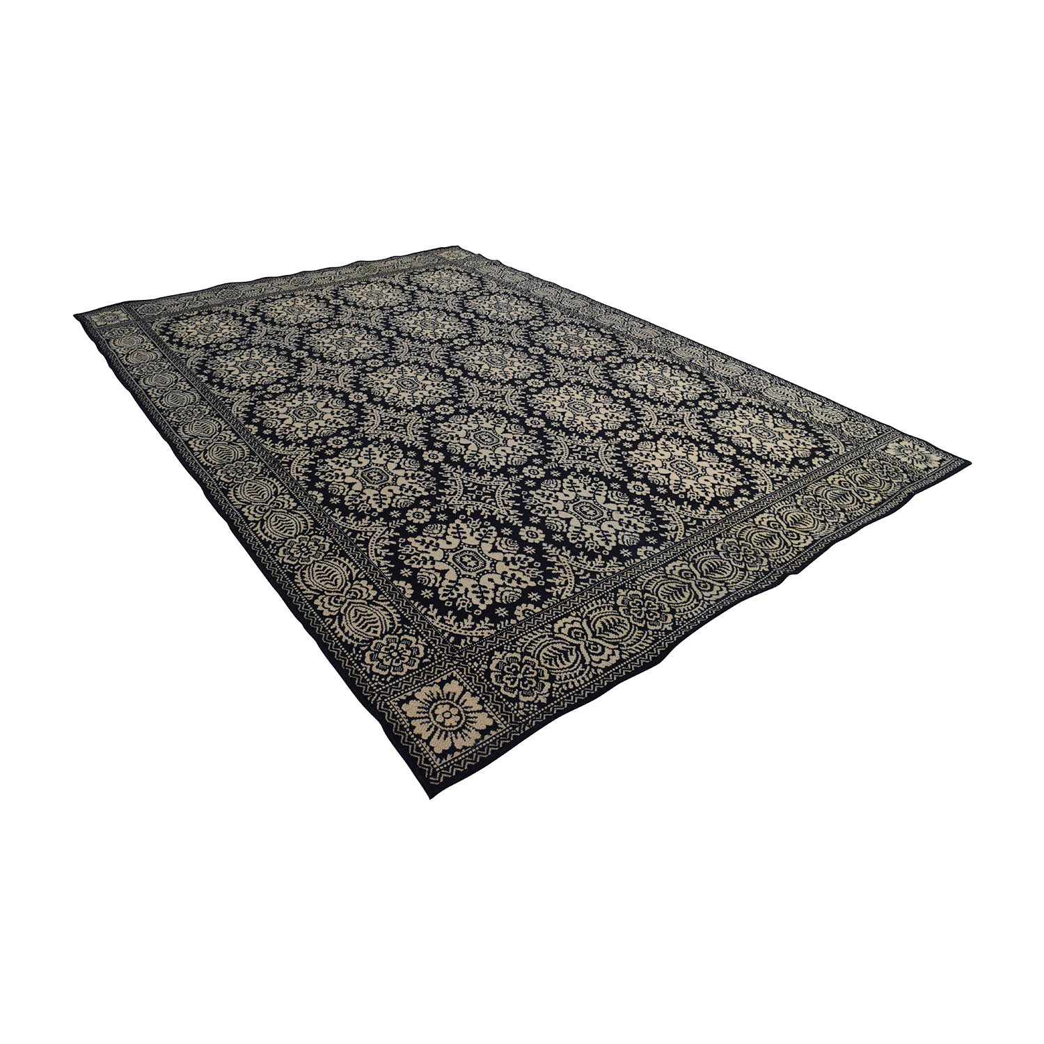 buy Black and Cream Print Custom Wool Rug Rugs