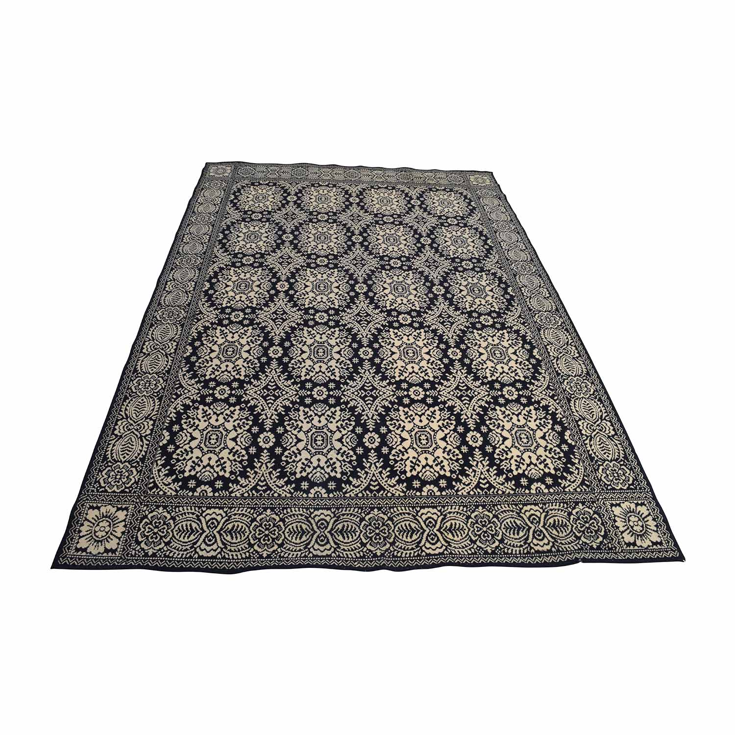 Black and Cream Print Custom Wool Rug second hand