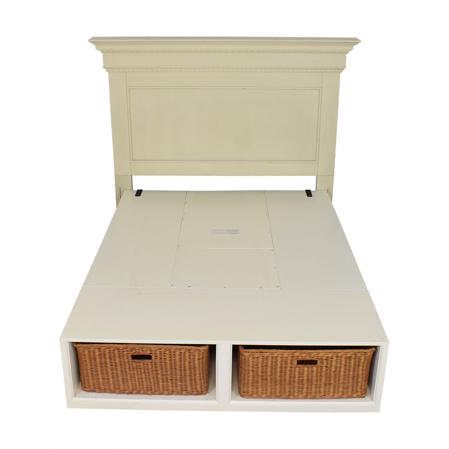 Pottery Barn Pottery Barn Addison Headboard and Stratton Storage Platform Bed with Baskets second hand