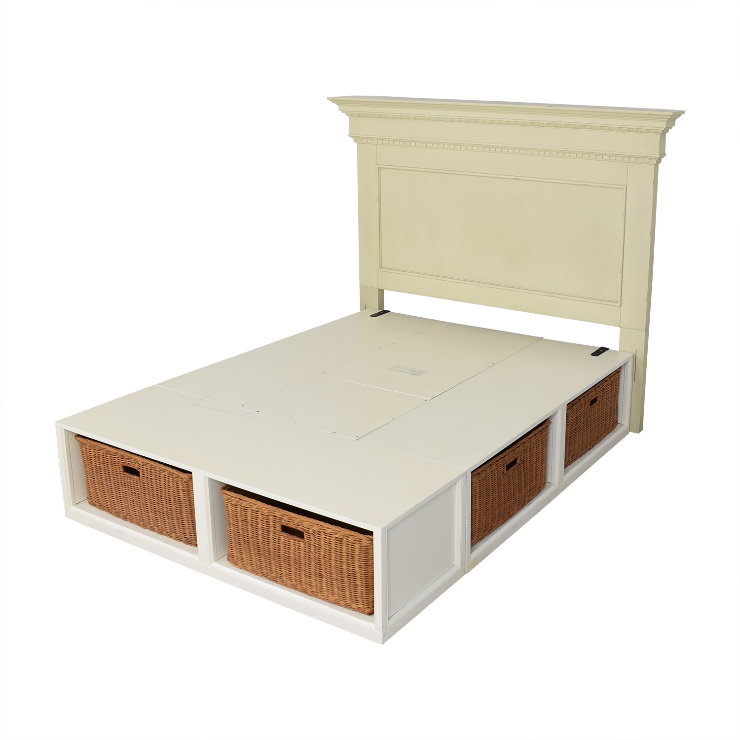 buy Pottery Barn Pottery Barn Addison Headboard and Stratton Storage Platform Bed with Baskets online