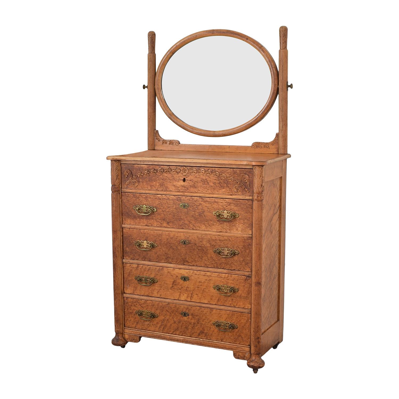 shop Antique Dresser and Mirror  Storage