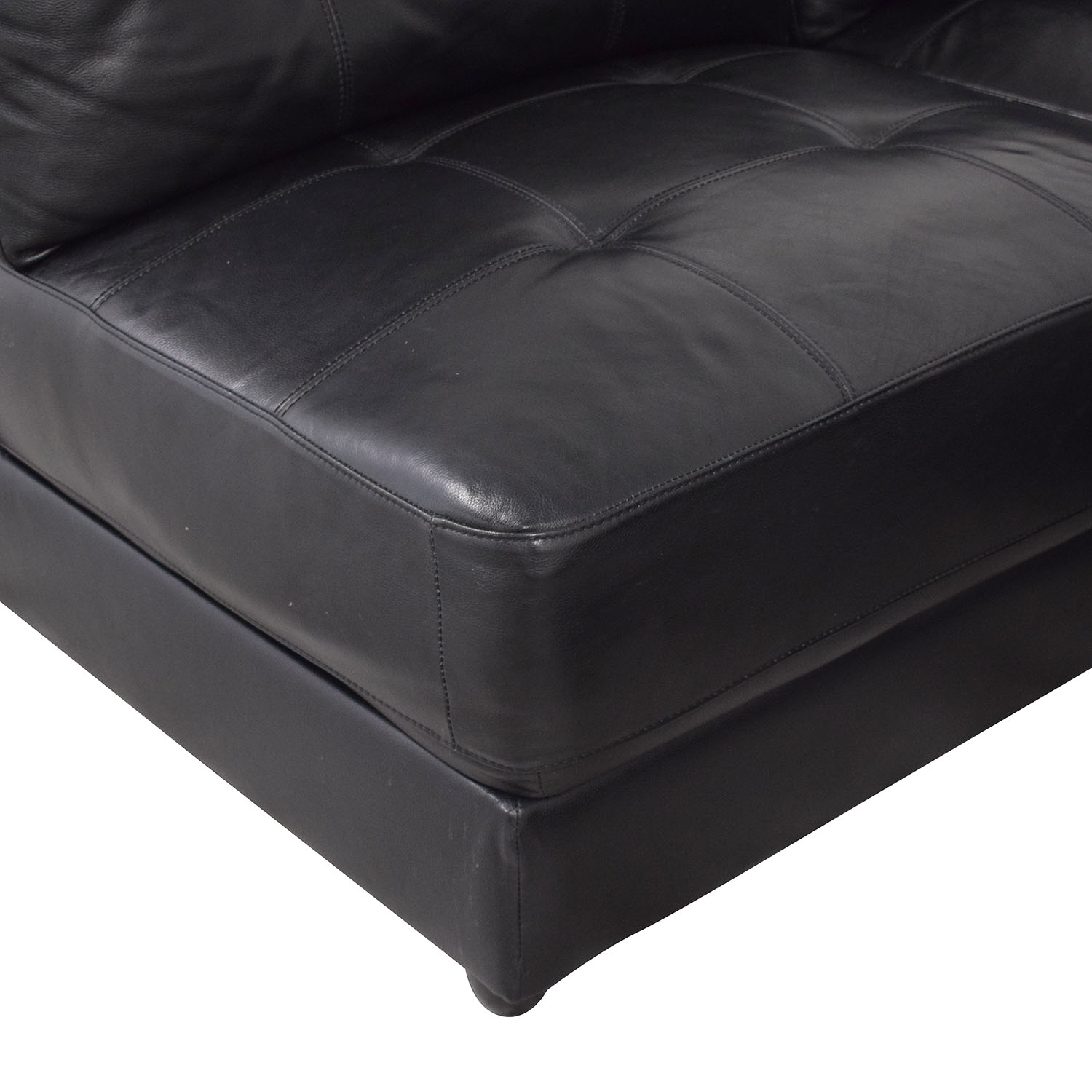 buy Abbyson Ella 5-Piece Black Modular Leather Sectional with Ottoman Abbyson Sectionals