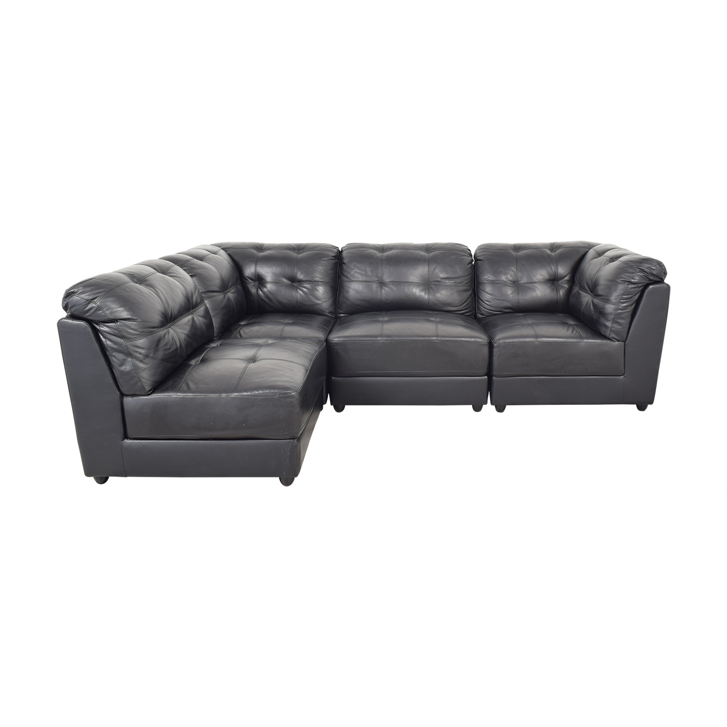 Abbyson Abbyson Ella 5-Piece Black Modular Leather Sectional with Ottoman pa