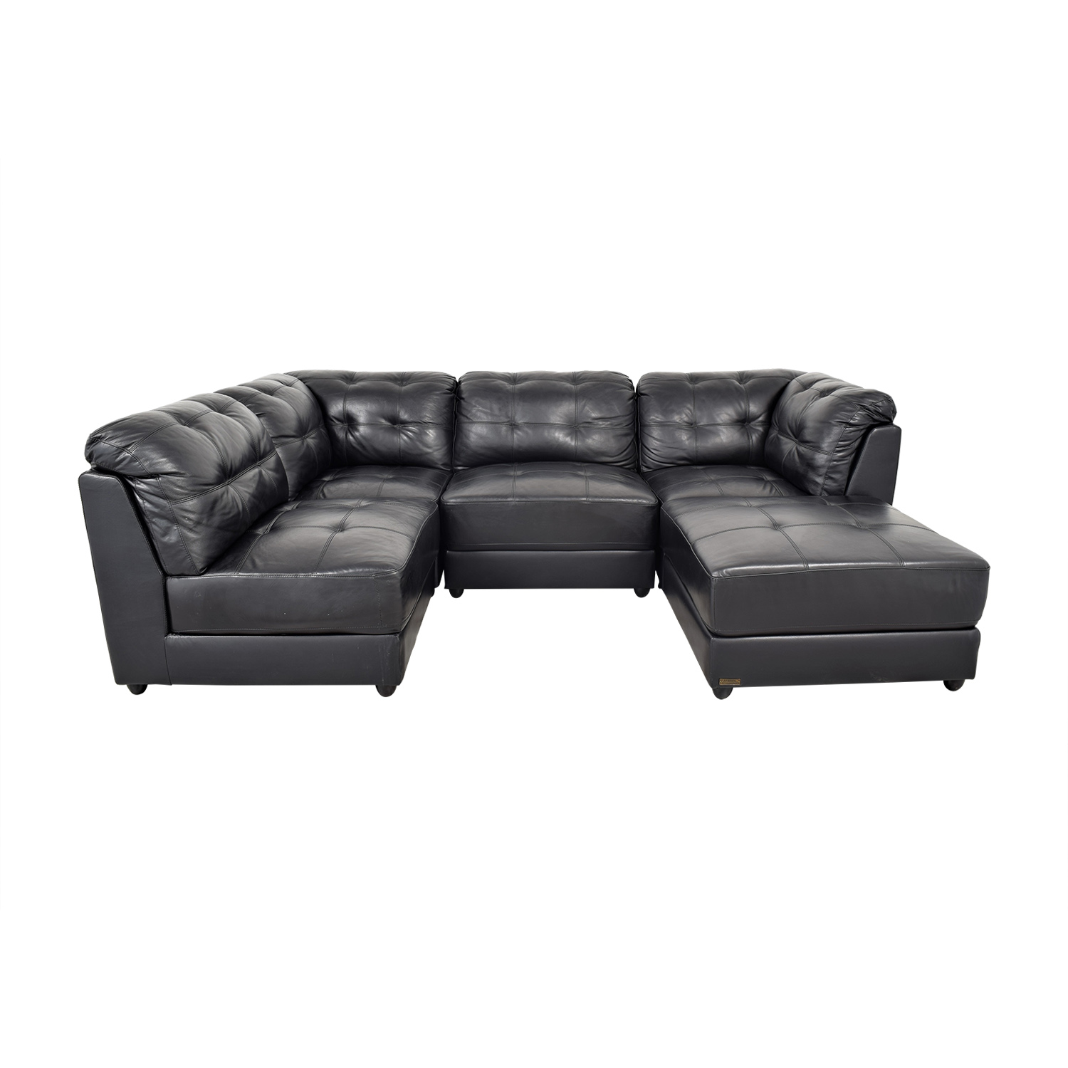 Abbyson Ella 5-Piece Black Modular Leather Sectional with Ottoman sale