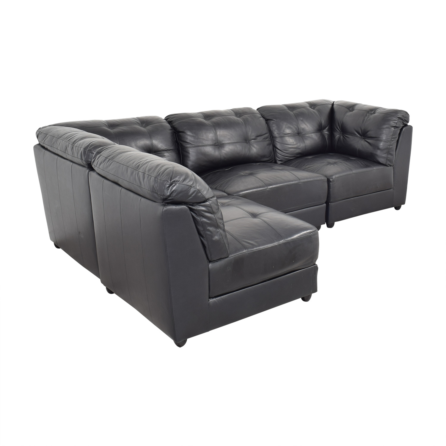 buy Abbyson Ella 5-Piece Black Modular Leather Sectional with Ottoman Abbyson