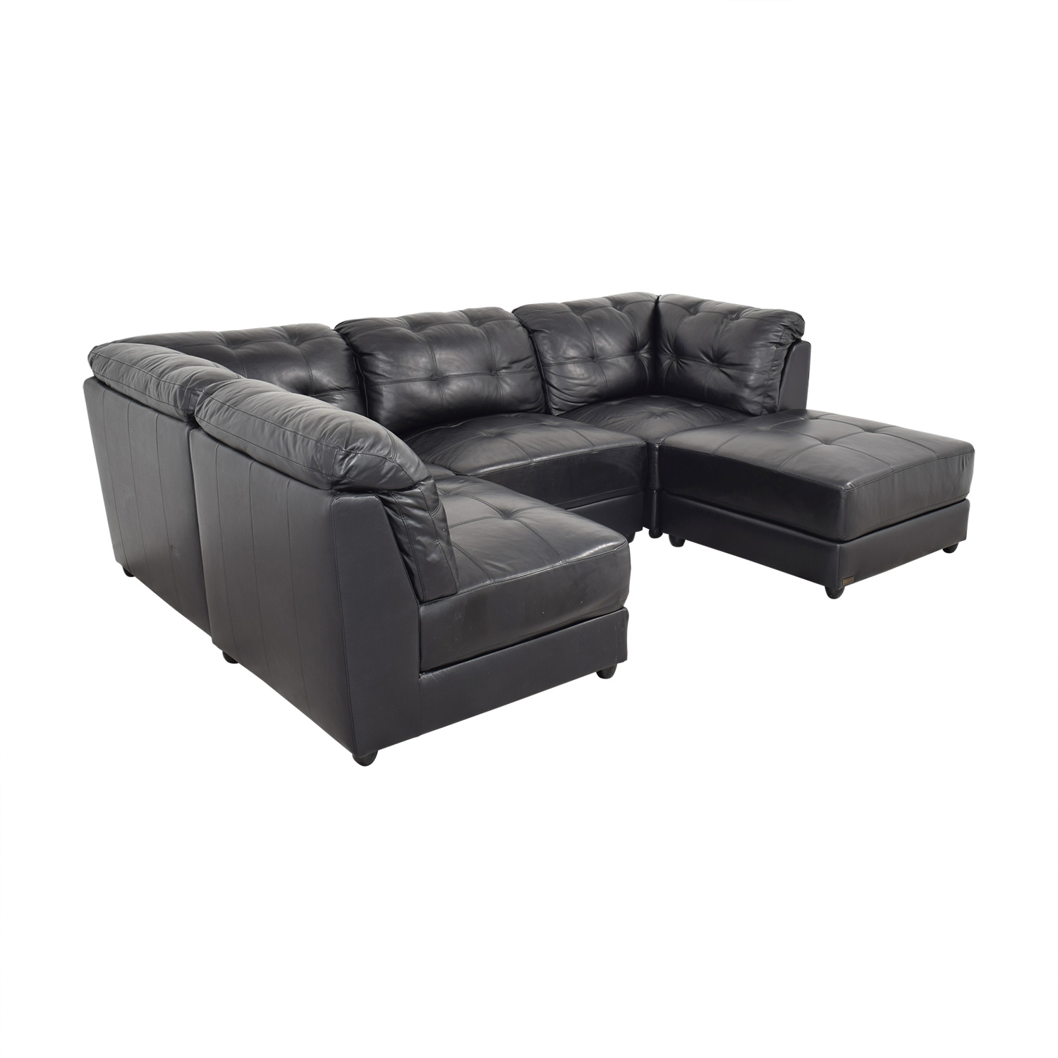 Abbyson Ella 5-Piece Black Modular Leather Sectional with Ottoman / Sectionals