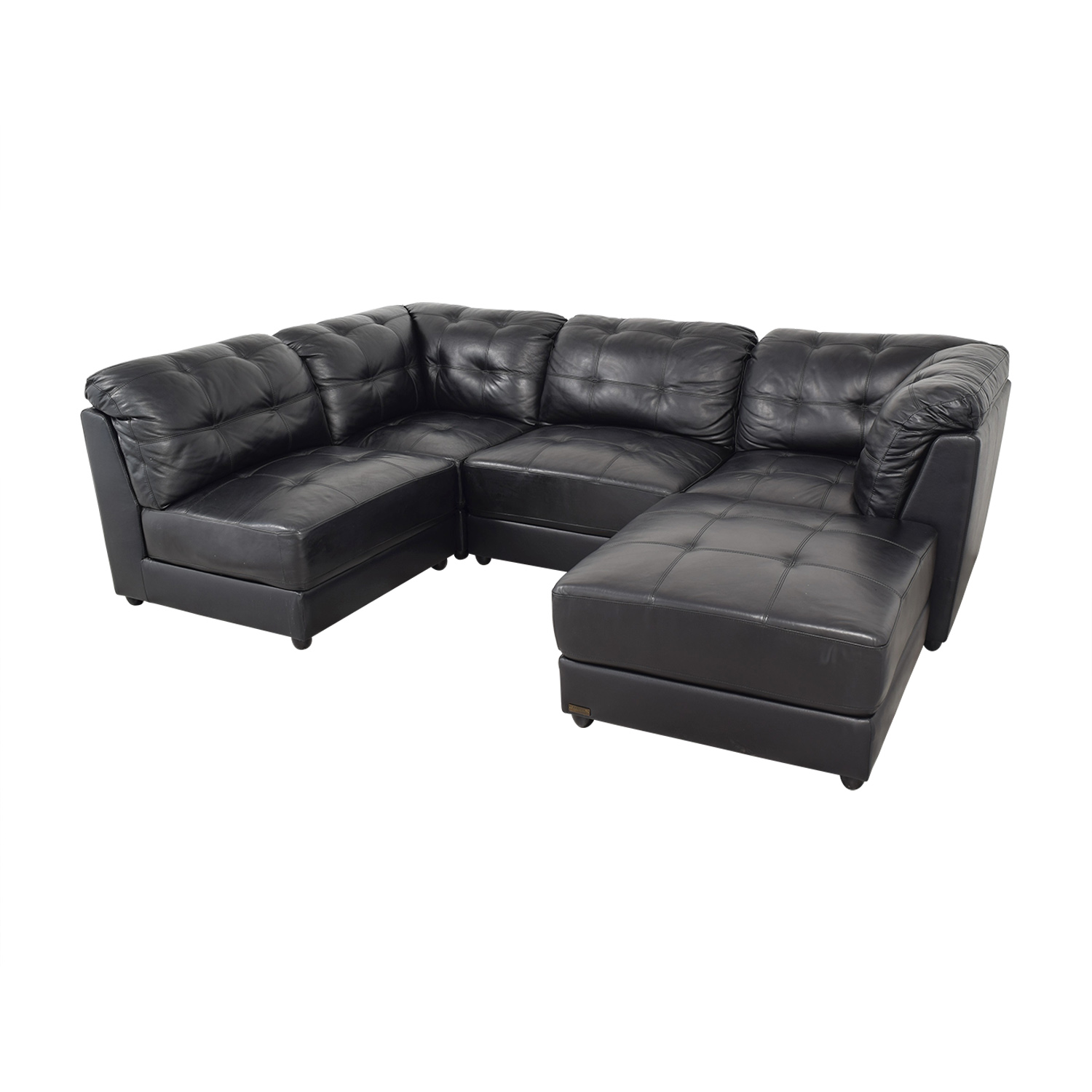 Abbyson Abbyson Ella 5-Piece Black Modular Leather Sectional with Ottoman ct