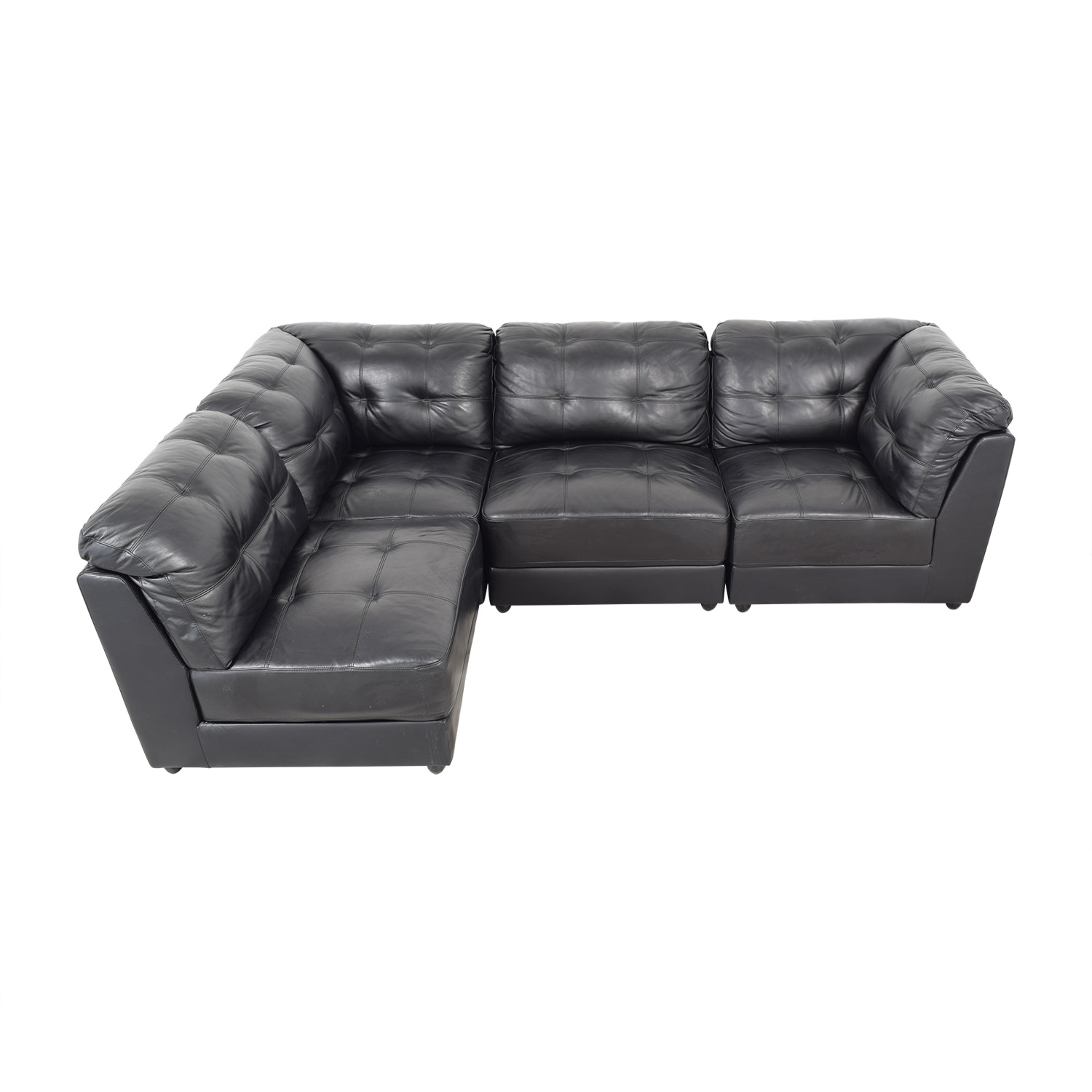 Abbyson Abbyson Ella 5-Piece Black Modular Leather Sectional with Ottoman ma