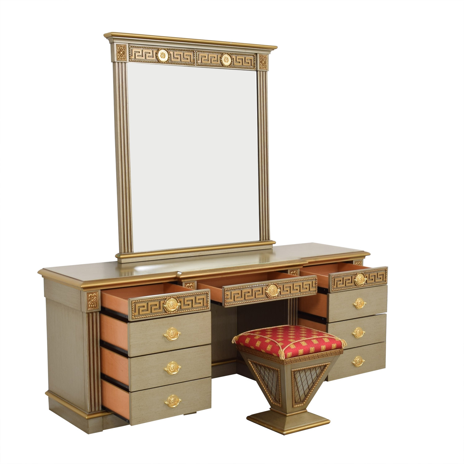 buy Versace-Style Vanity Table and Stool  Home Office Desks