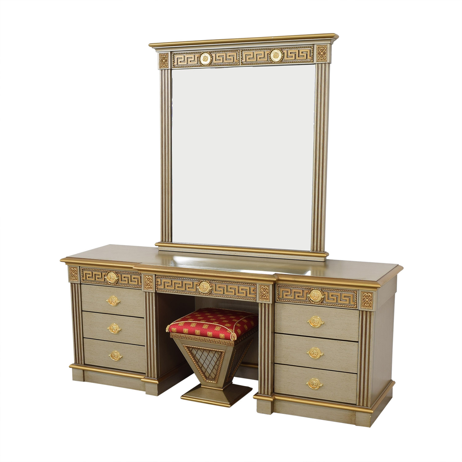 Versace-Style Vanity Table and Stool nj