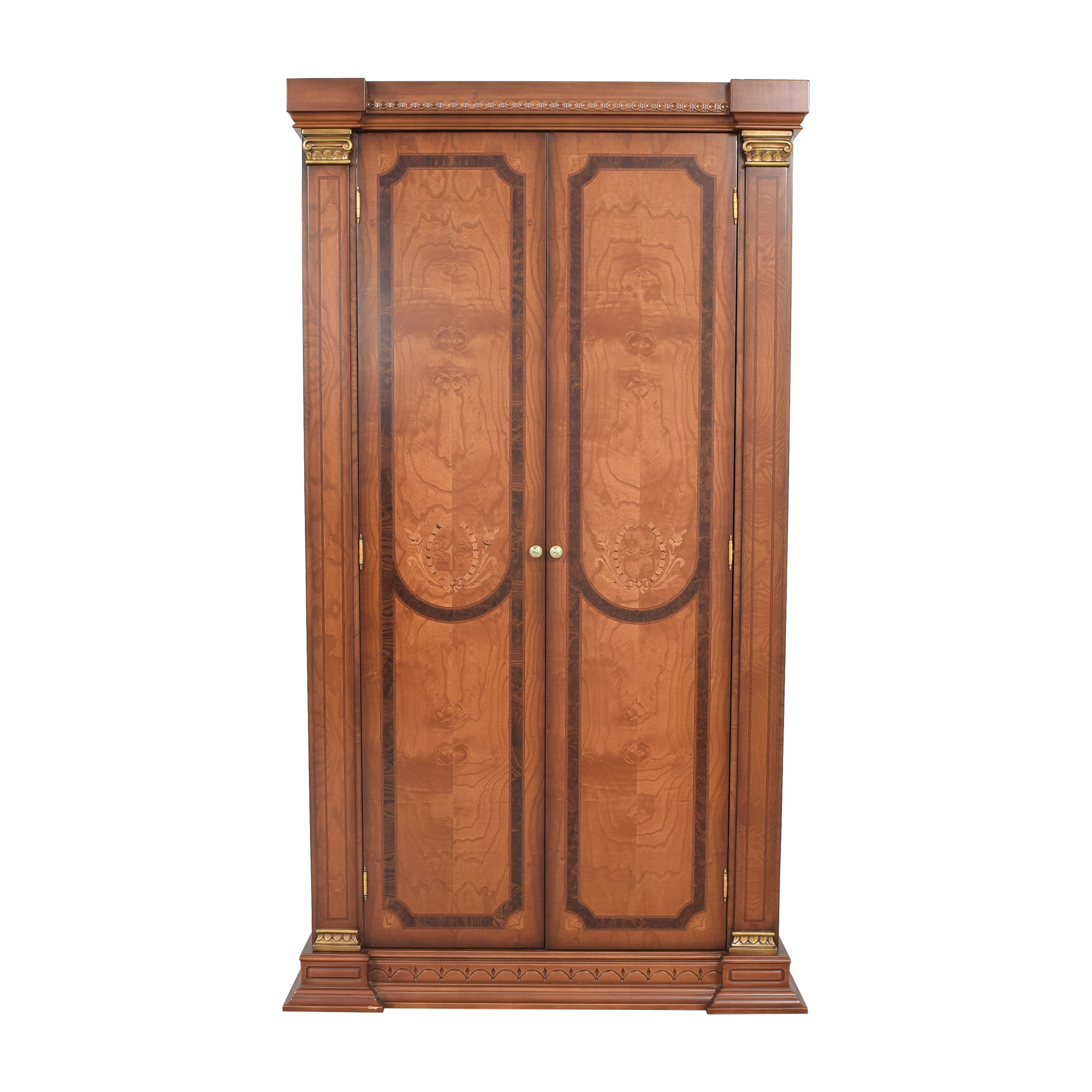 Two Door Armoire with Carved Detail brown