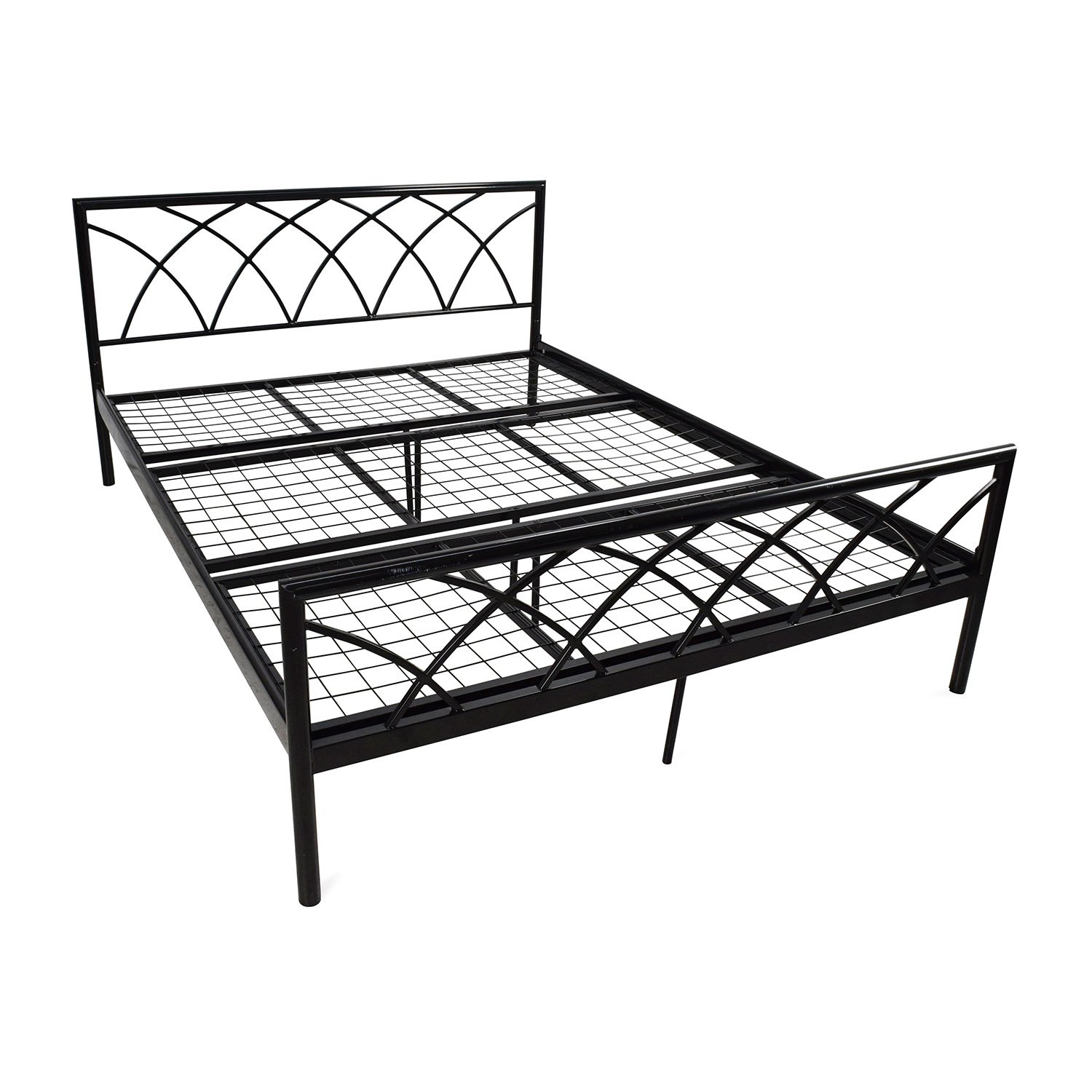 75 off overstock queen size metal bed frame beds for Queen bed frame