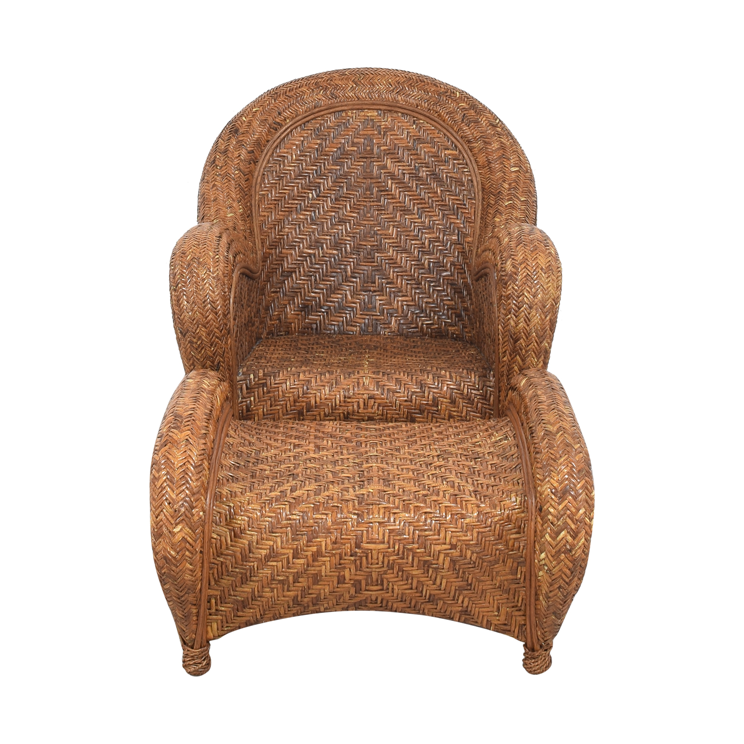 Pottery Barn Seagrass Wicker Armchair and Ottoman Accent Chairs