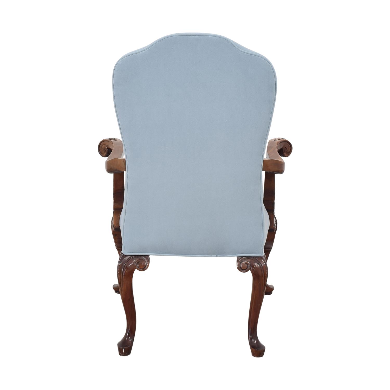 Louis XVI Style Accent Chair blue & dark brown